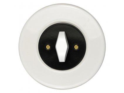 Vypínač dvojpólový, řaz. 2, kompletní, RETRO KERAMIKA bílá (Varianta Rám: keramika - bílá, Kryt: černý, Ovladač: ZLN patina)