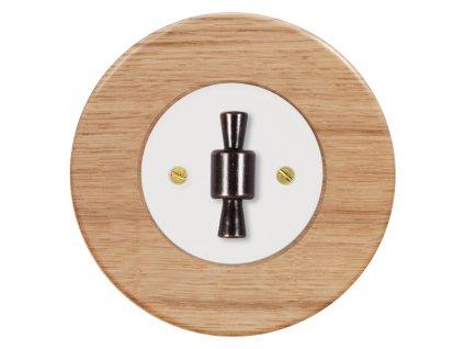 Vypínač dvojpólový, řaz. 2, kompletní, RETRO DŘEVO dub (Varianta Rám: dřevo dub světlý, Kryt: černý, Ovladač: ZLN patina)