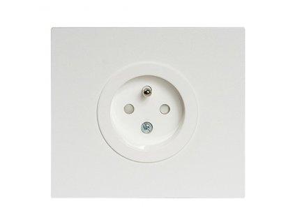 Zásuvka  VECTIS HLINÍK - jednonásobná s clonkam - bílá (Varianta Rám: hliník bílý, Kryt: černá mat)