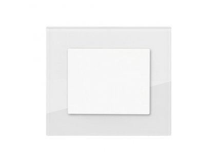 Minimalistický vypínač Obzor DECENTE - SKLO (Schéma zapojení Tlačítko s nulovou svorkou 1/0N, Varianty Rám: Sklo antracitově černá, Kryt: bílý lesk)