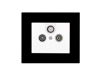 Zásuvka komunikační DECENTE PLEXI (Typ Zásuvka komunikační USB nabíječka dvojitá, Varianty Rám: Plexi bílá, Kryt: bílý lesk)