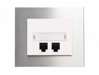 Zásuvka komunikační DECENTE KOV (Typ Zásuvka komunikační USB nabíječka dvojitá, Varianty Rám: Kov hliník, Kryt: bílý lesk)