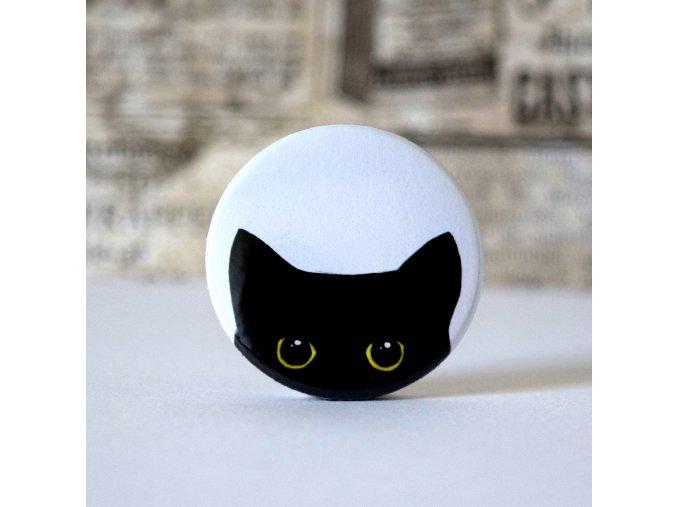 kočka placka, černá