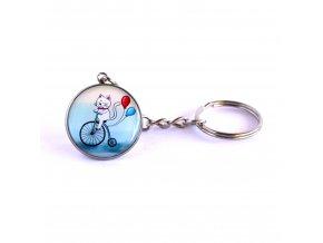 Kočka na kole klíčenka
