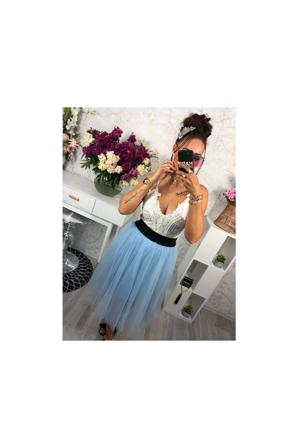Tylová sukně modrá
