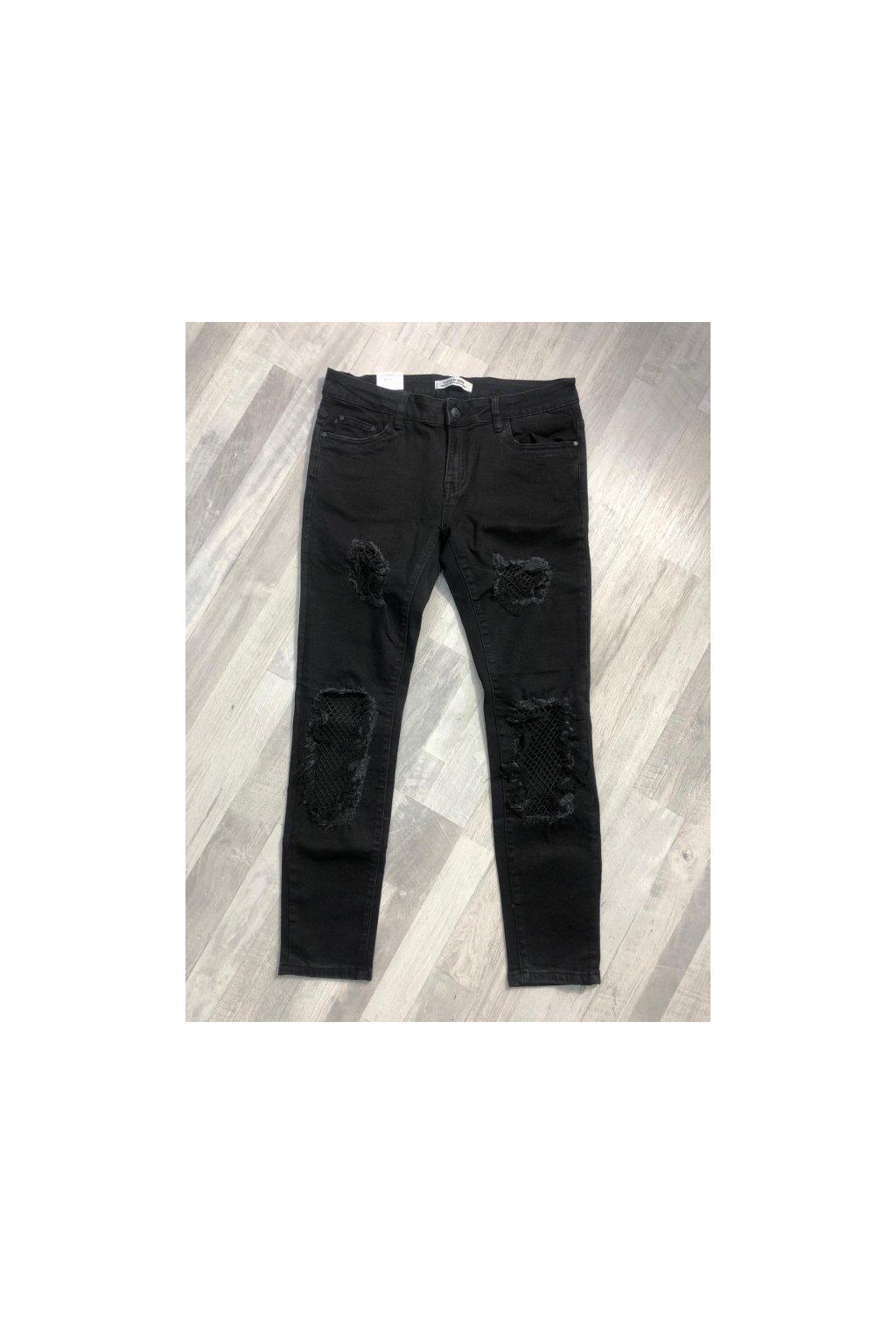 Černé jeansy se siťkou
