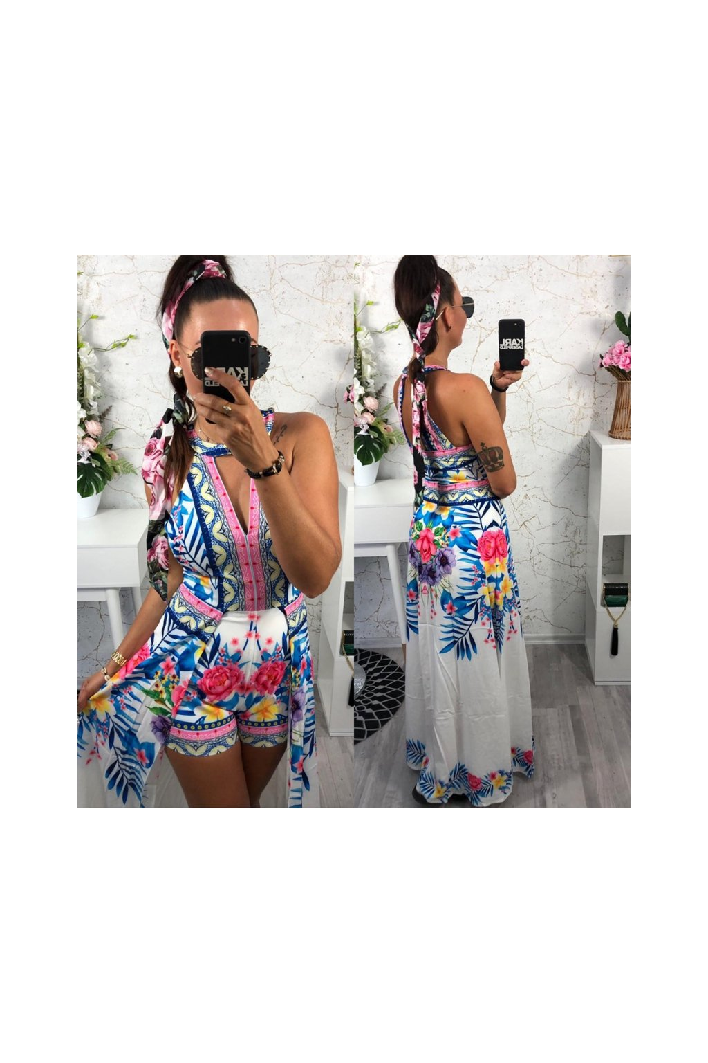 Letní bílé šaty s kraťasy