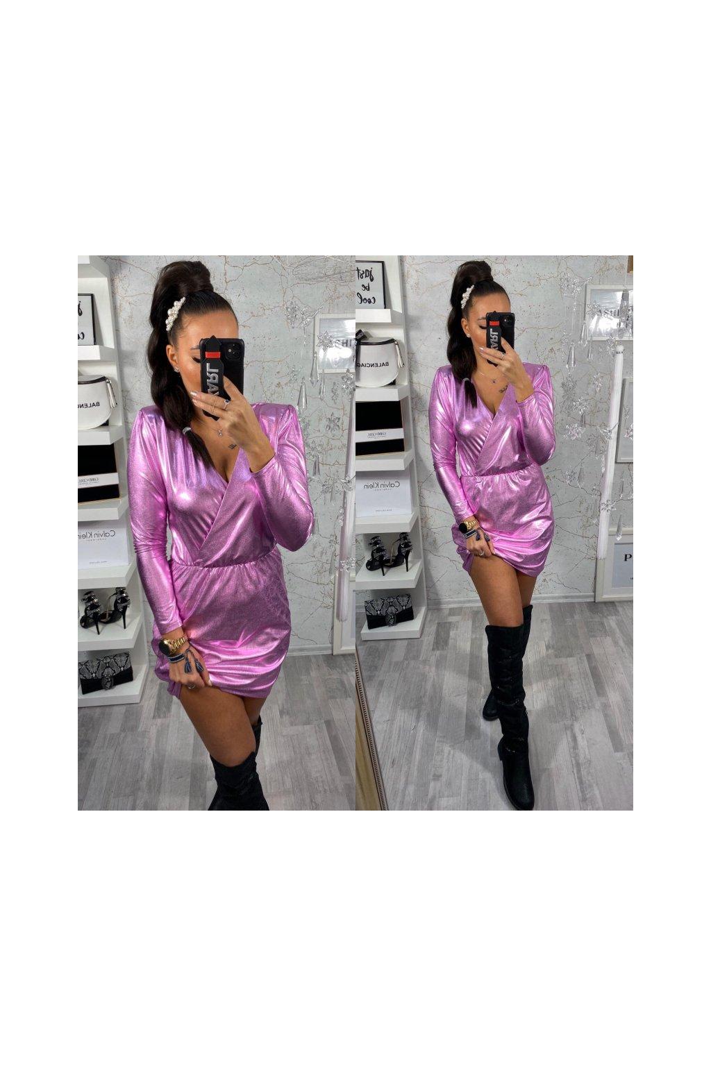 Růžové Metalické šaty