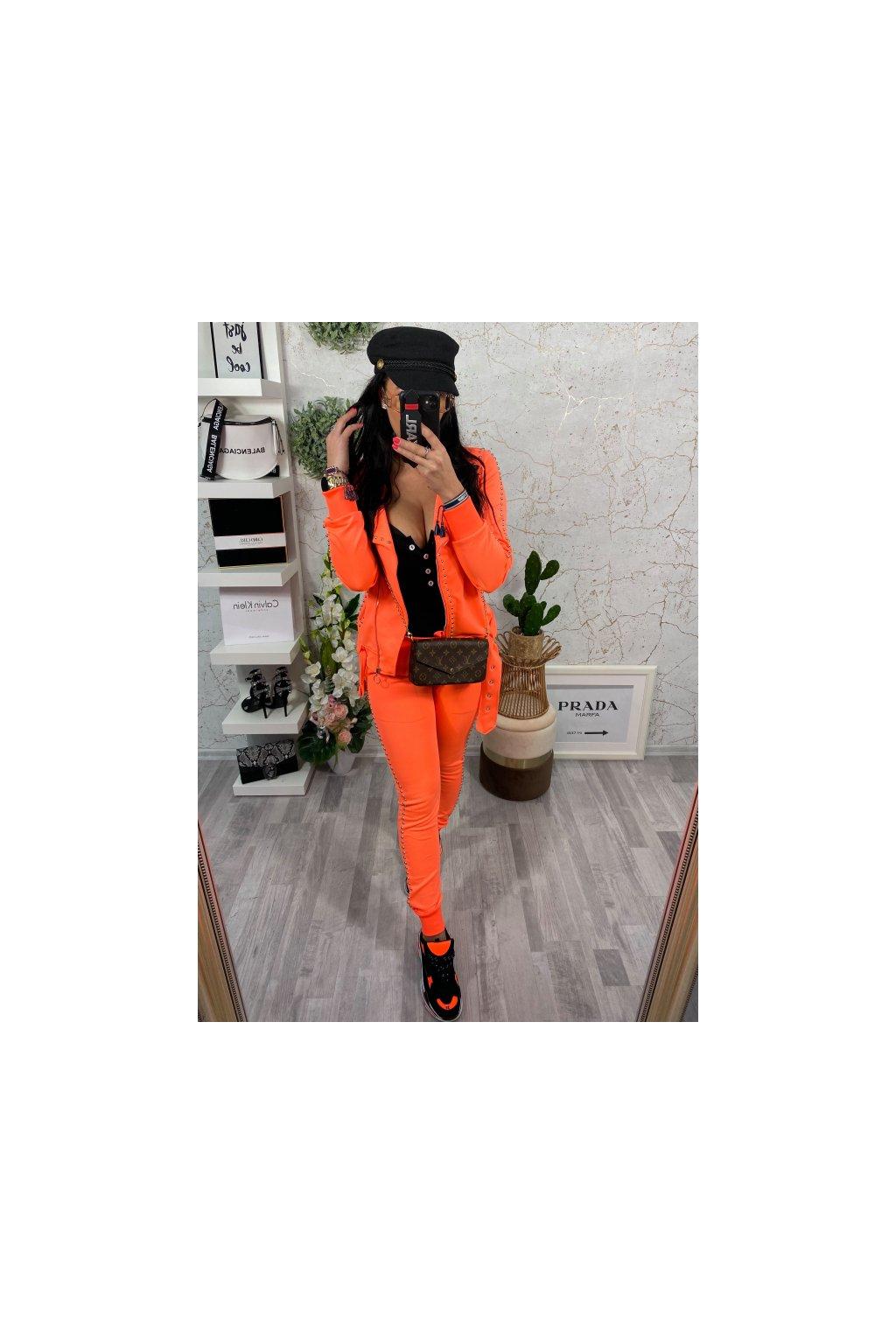 Neon oranžová tepláková souprava