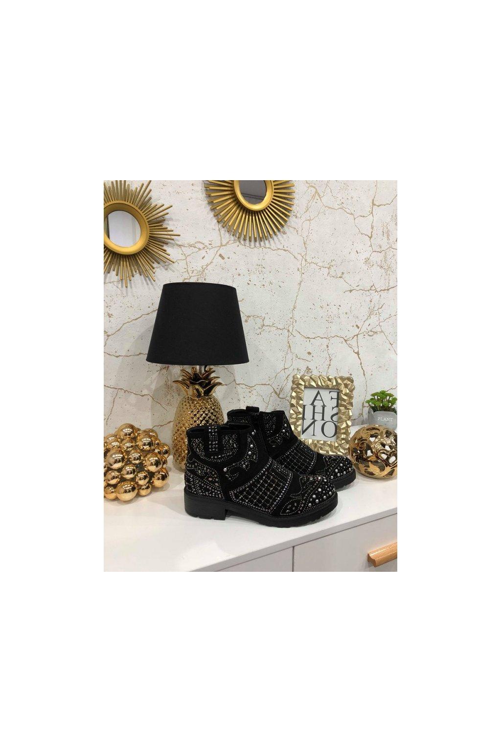 Kotníkové boty Black s kamínky