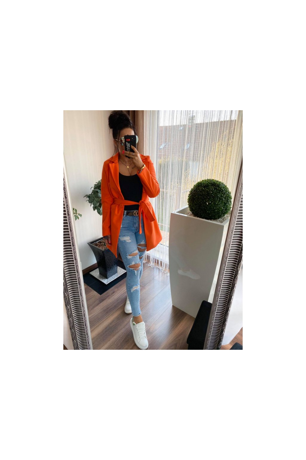 Luxusní oranžový flaušový kabát