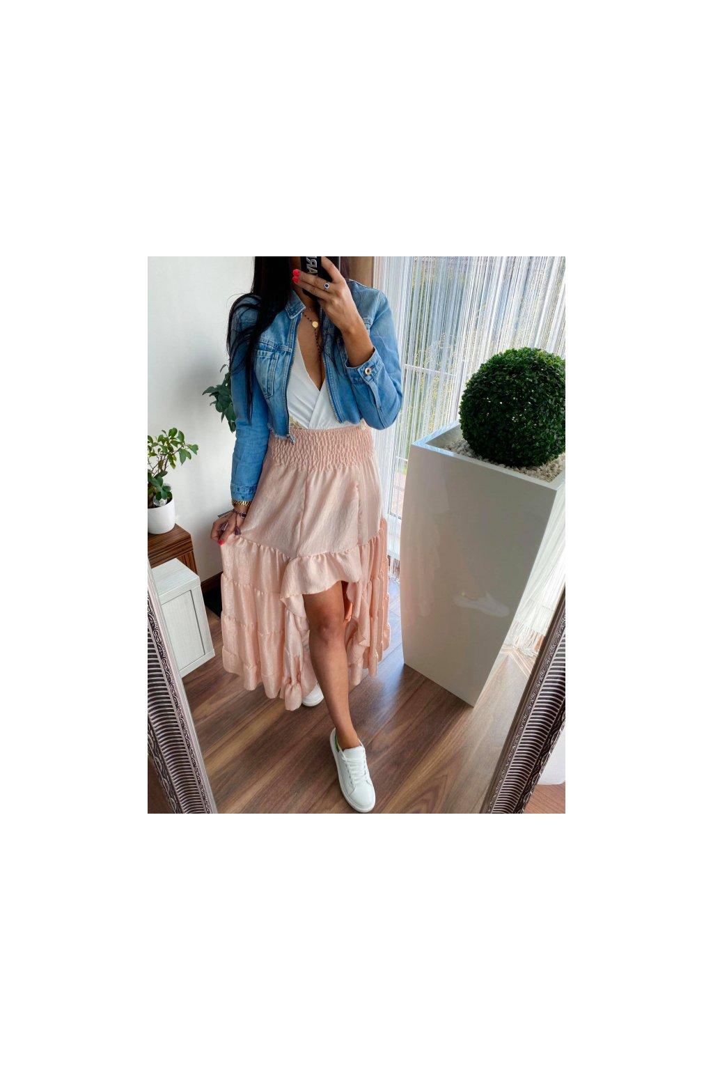 MAXI sukně s volány - sv. růžová