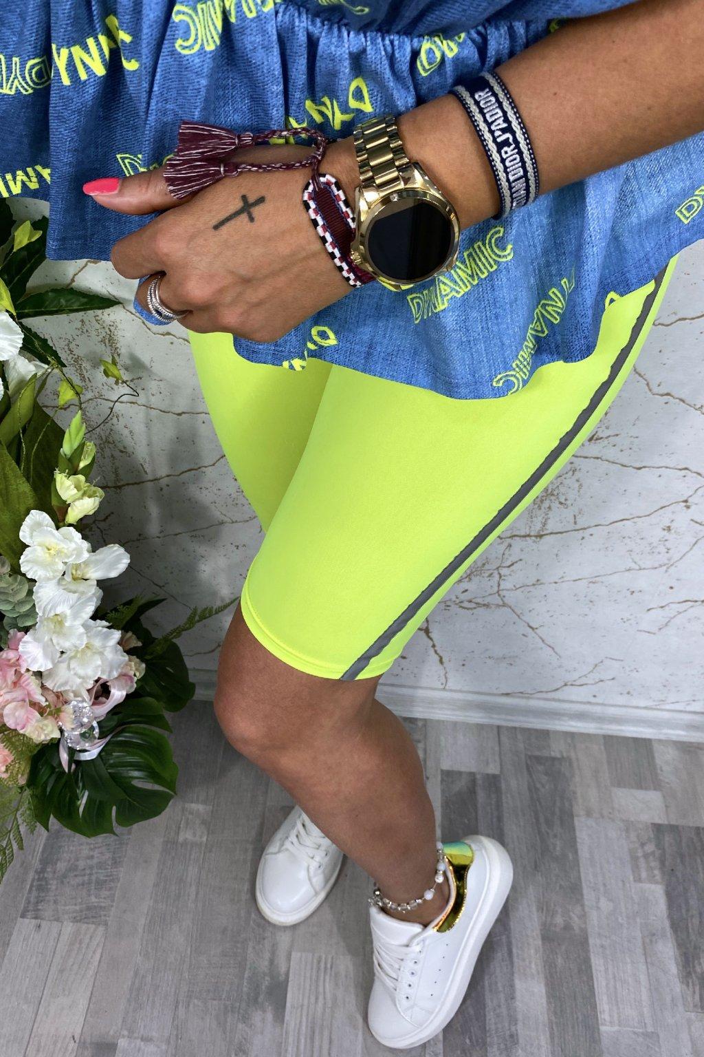 Neon shorts leginy s pruhem
