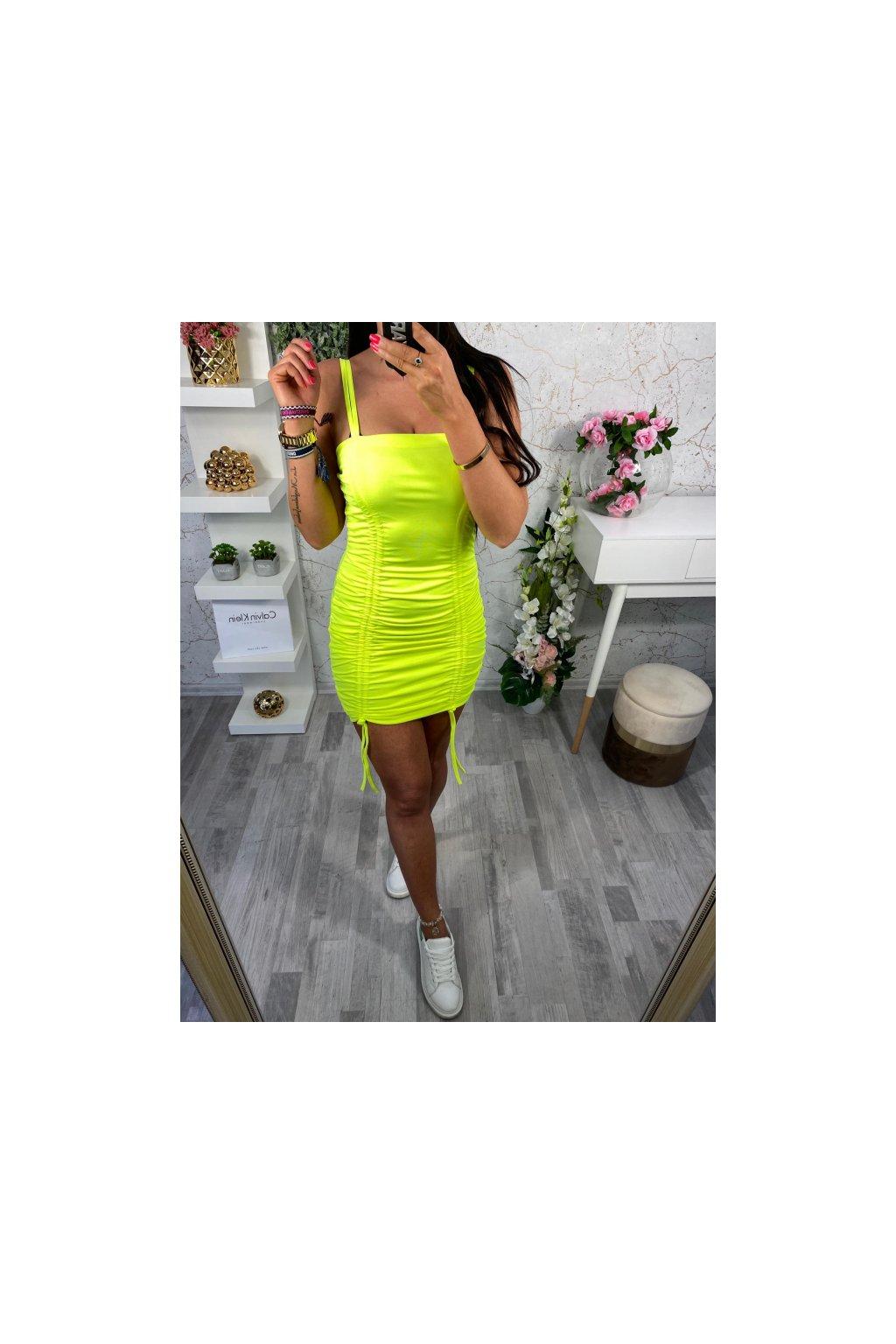 Neon řasené sexy šaty