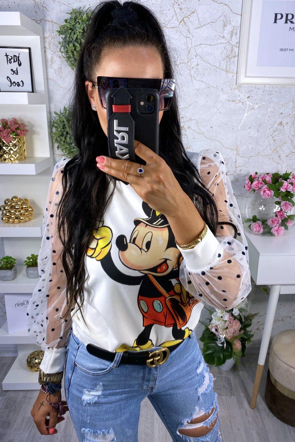 Bílá mikina Mickey