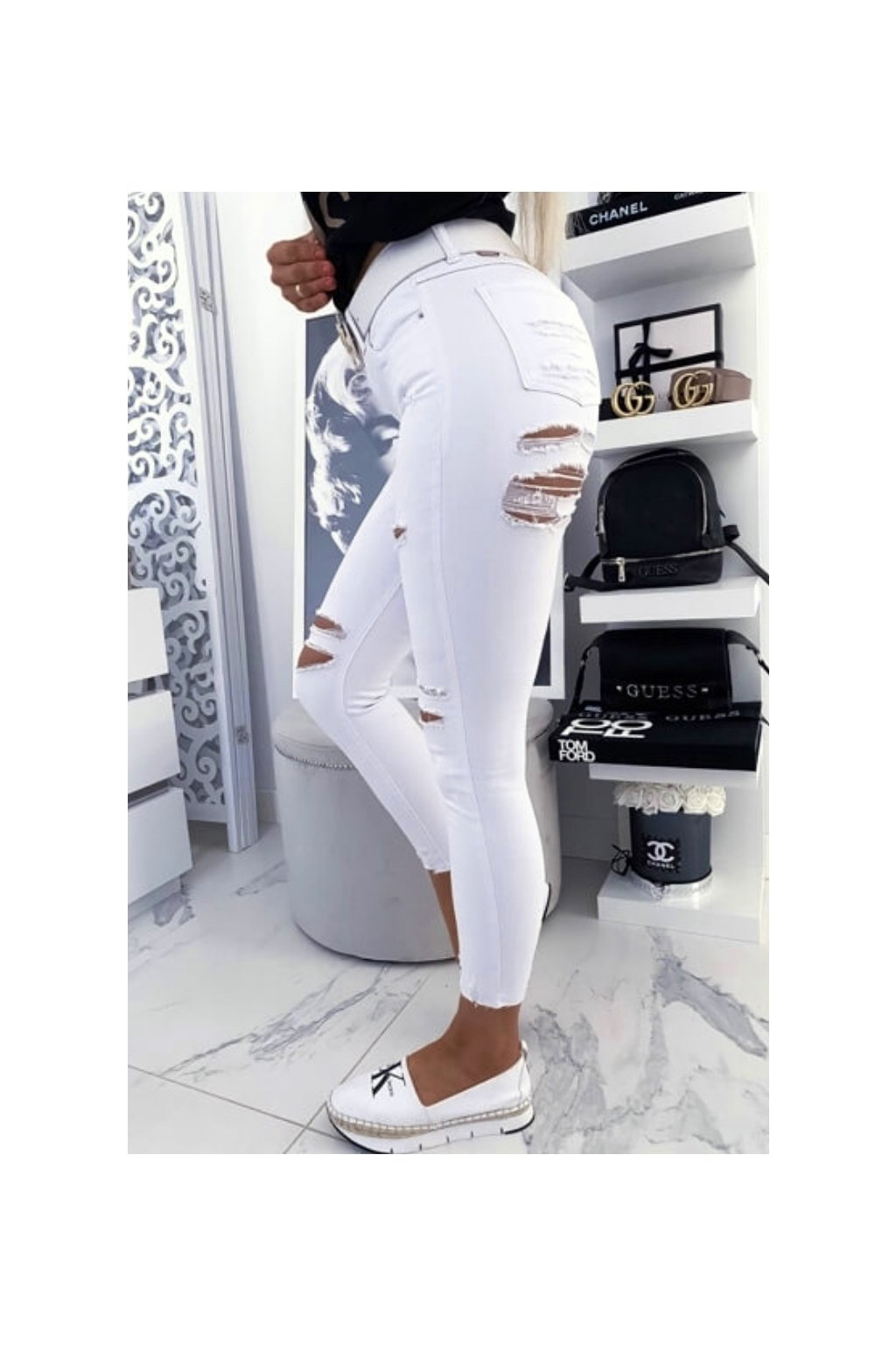 TOP trhané bílé džíny