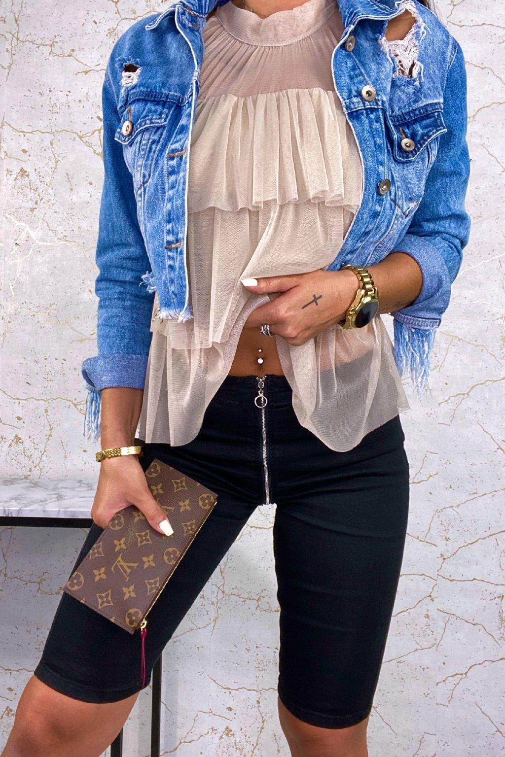 Černé Shorts džíny se zipy
