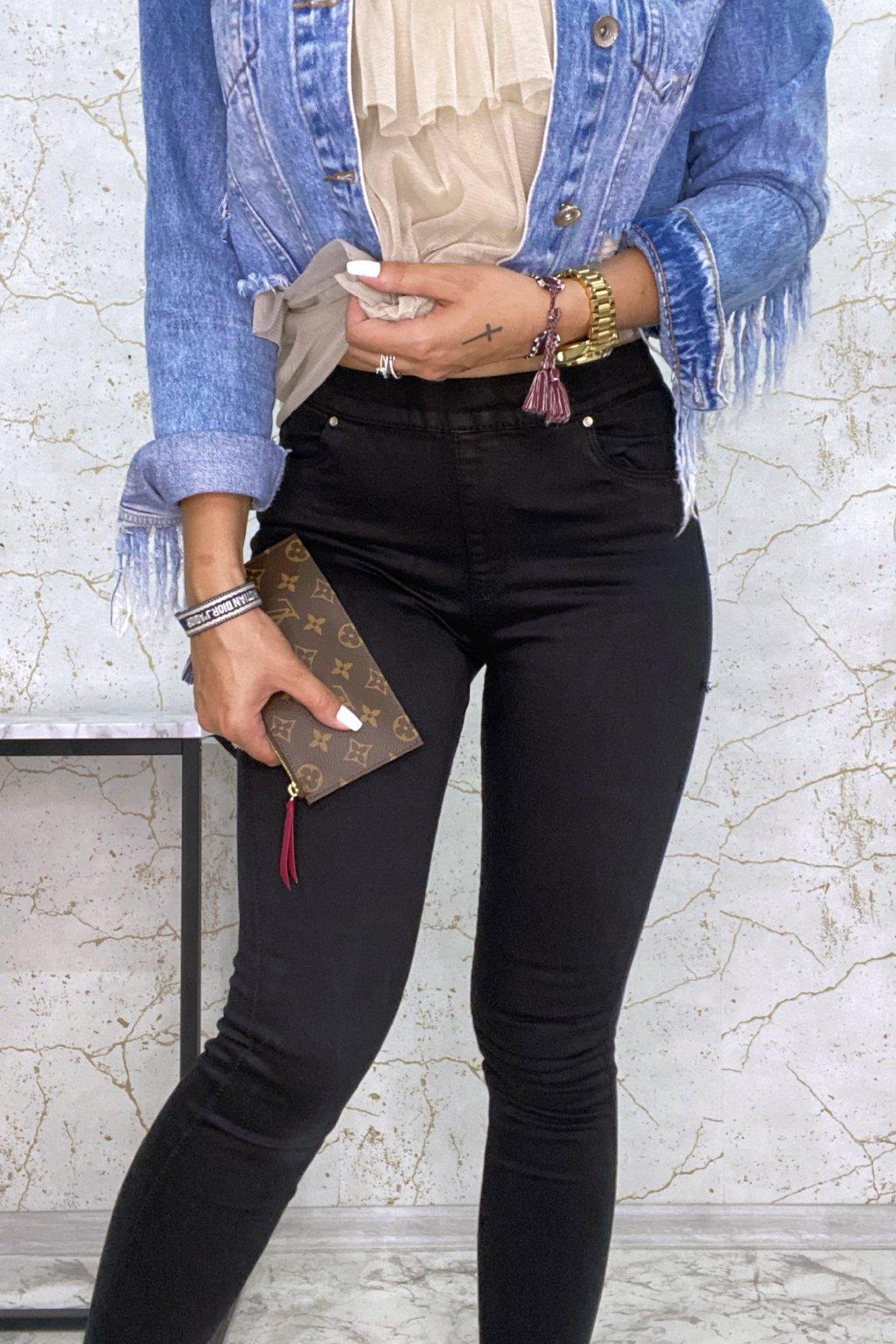 Černé Slim džíny se zipem