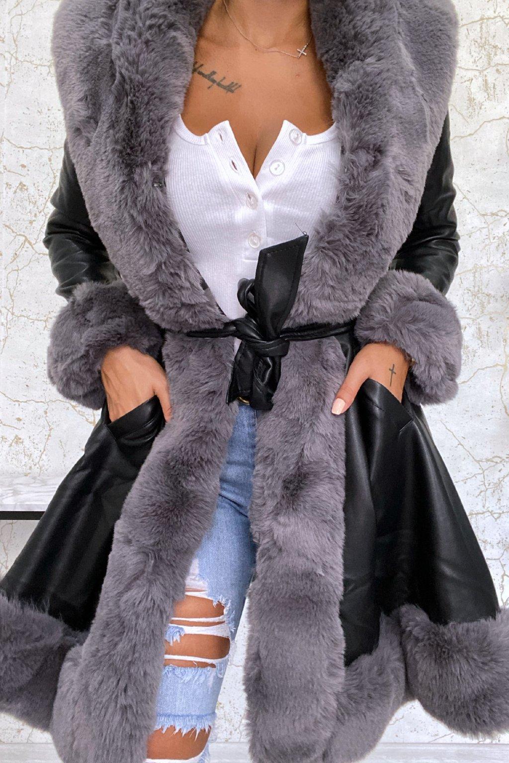 Černo-šedý kabát Alexis