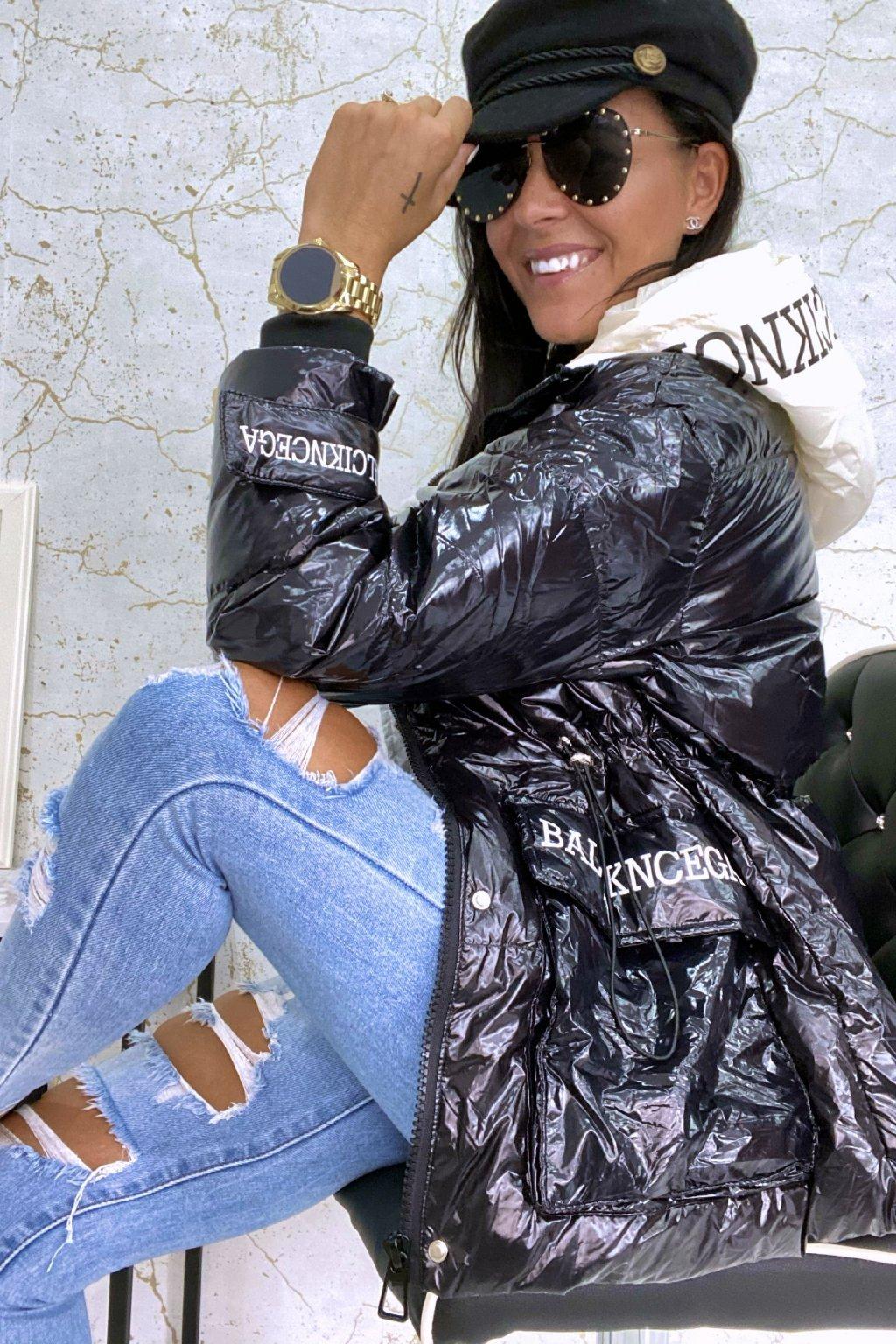 Černá oversize bunda s kapucí