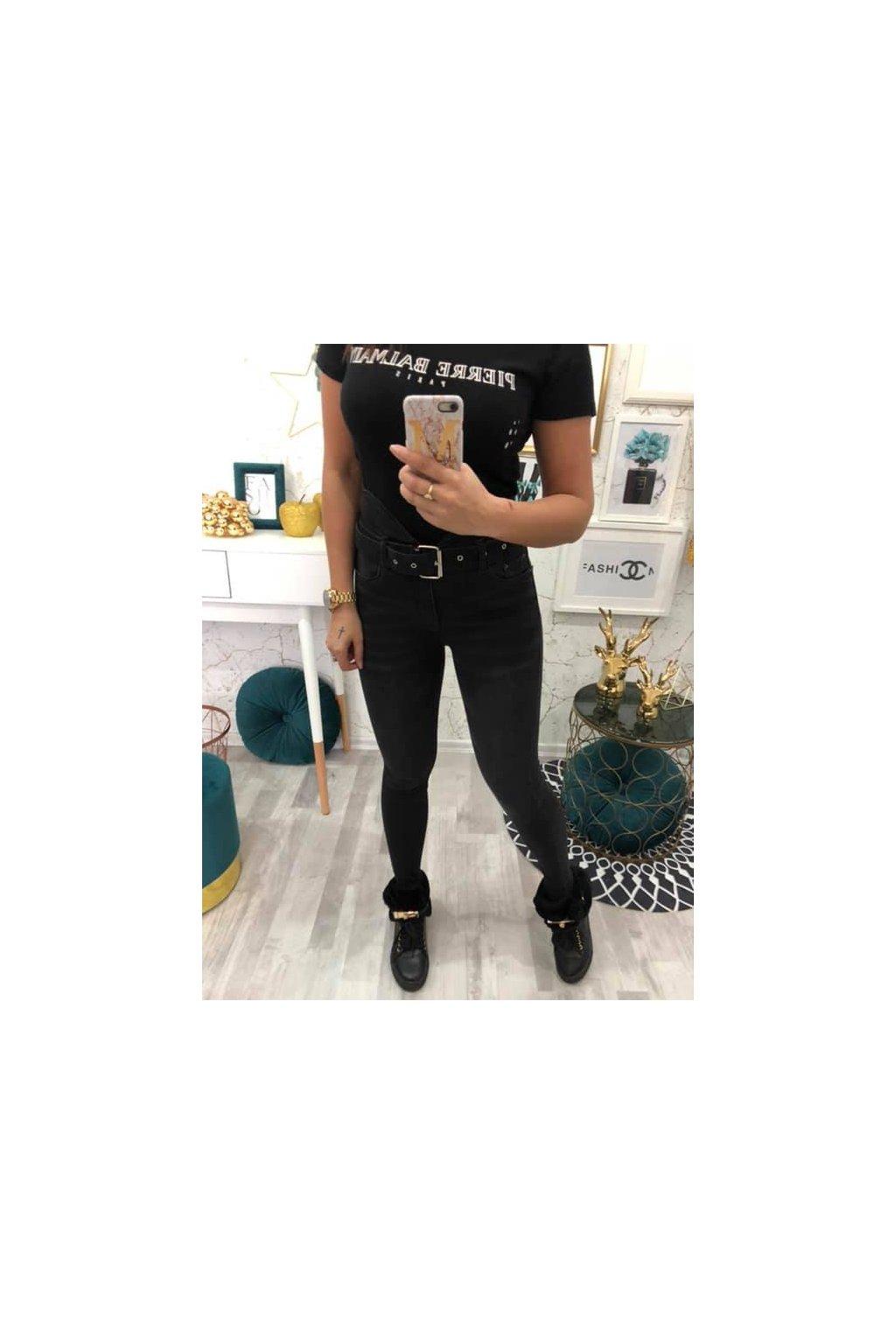 Slim fit jeans s vysokým pasem