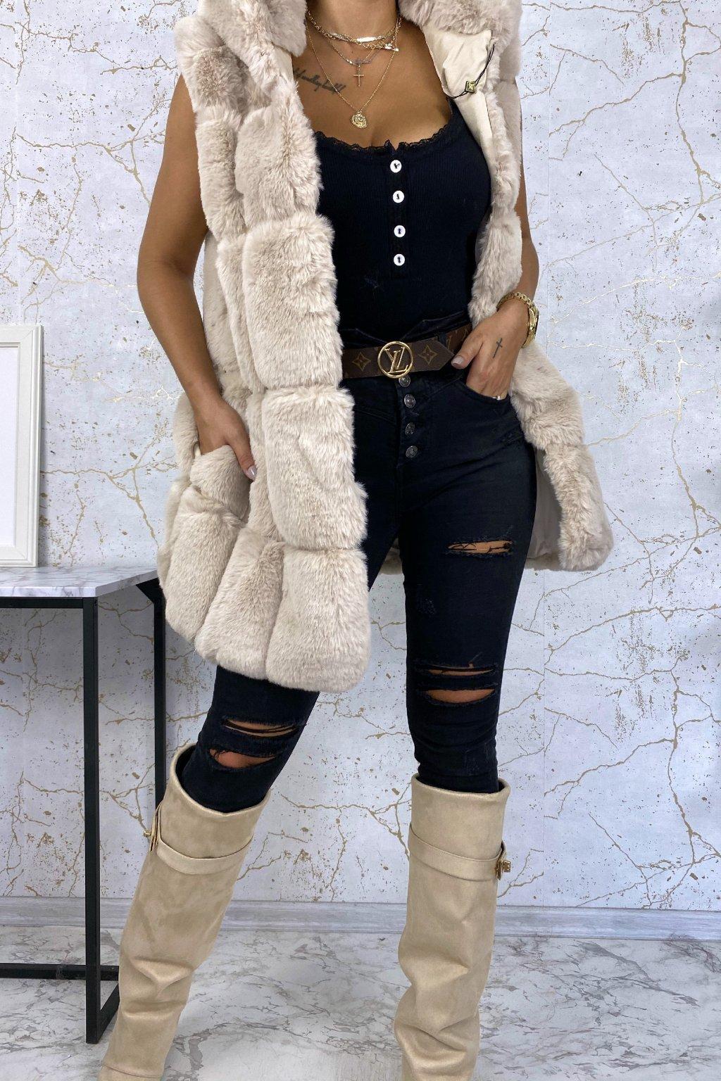 Kožešinová vesta s kapucí v béžové barvě