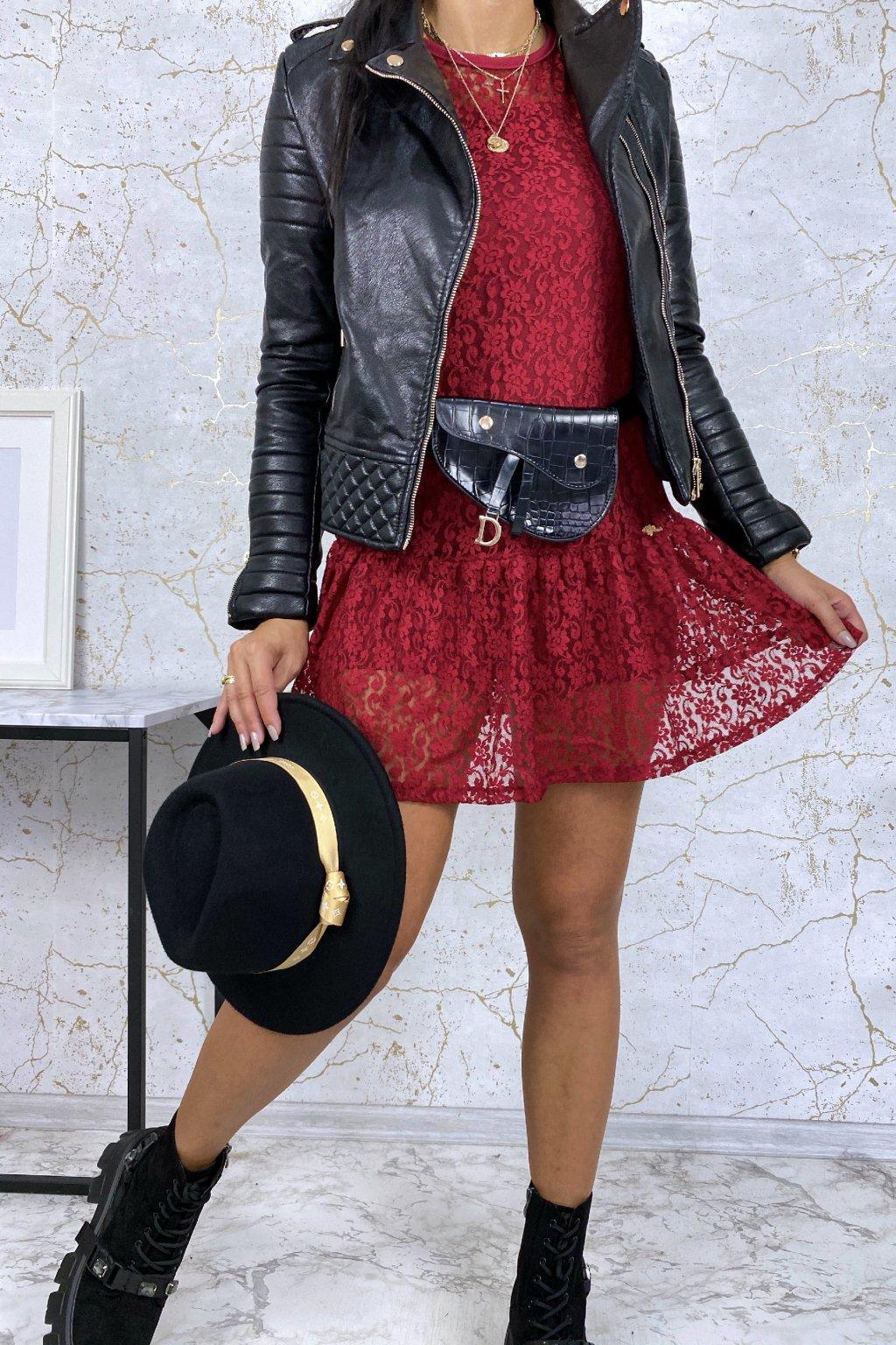 Bordó krajkové mini šaty