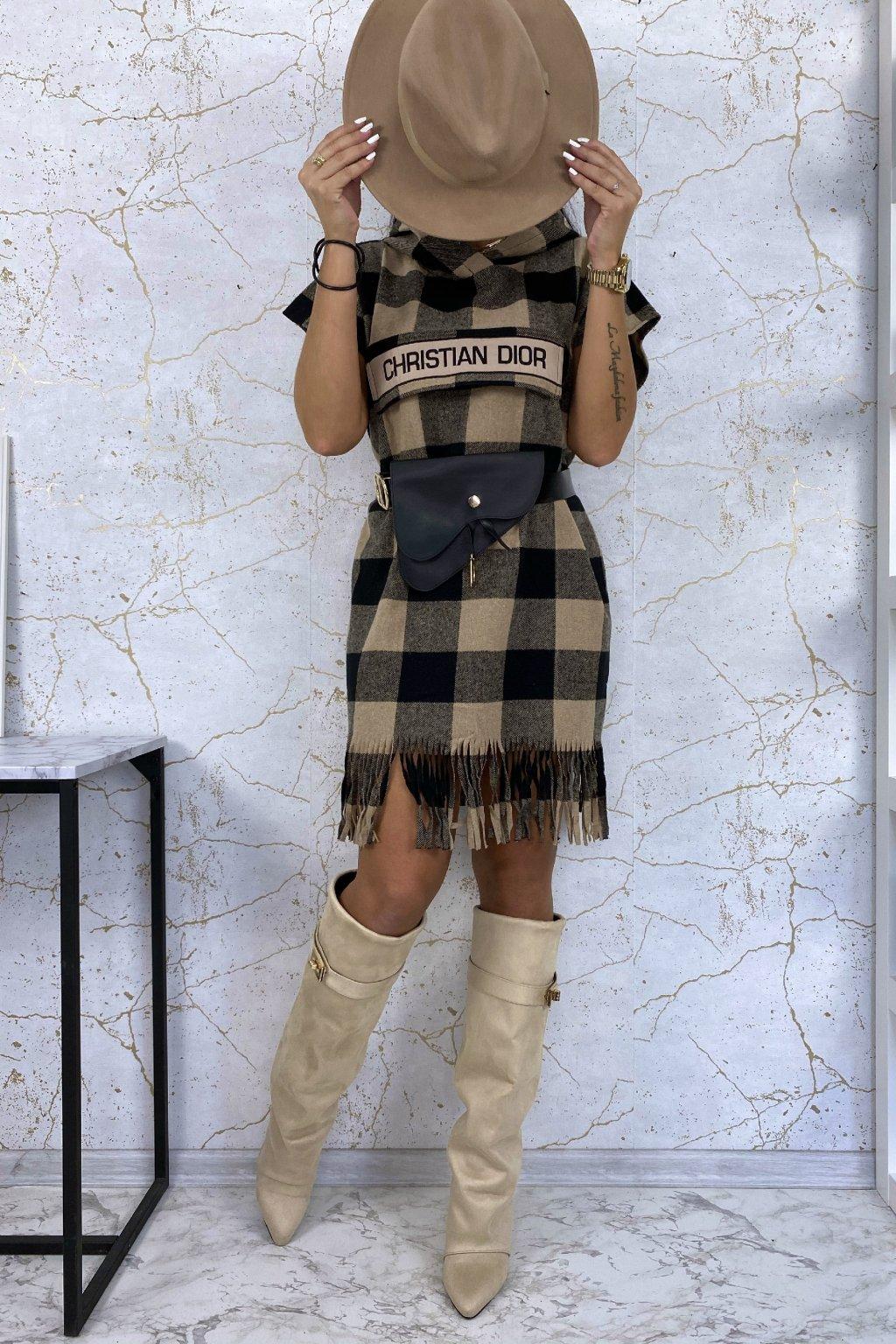 Luxusní kárované šaty s kapucí - černo-béžové