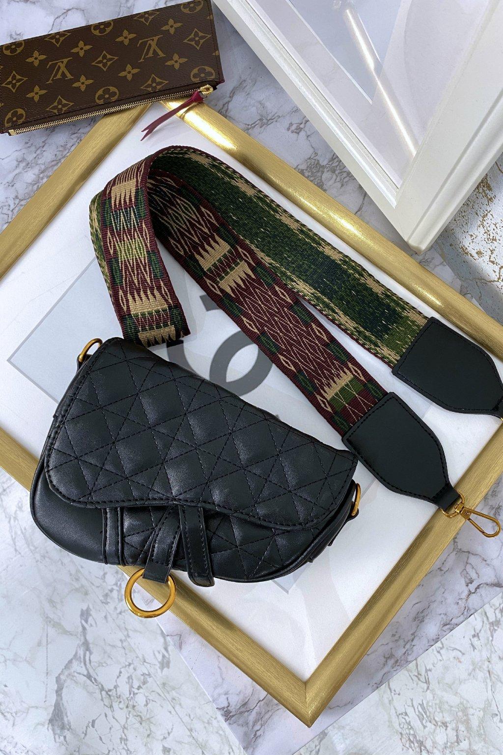 Černá crossbody kabelka s barevným popruhem - Paris