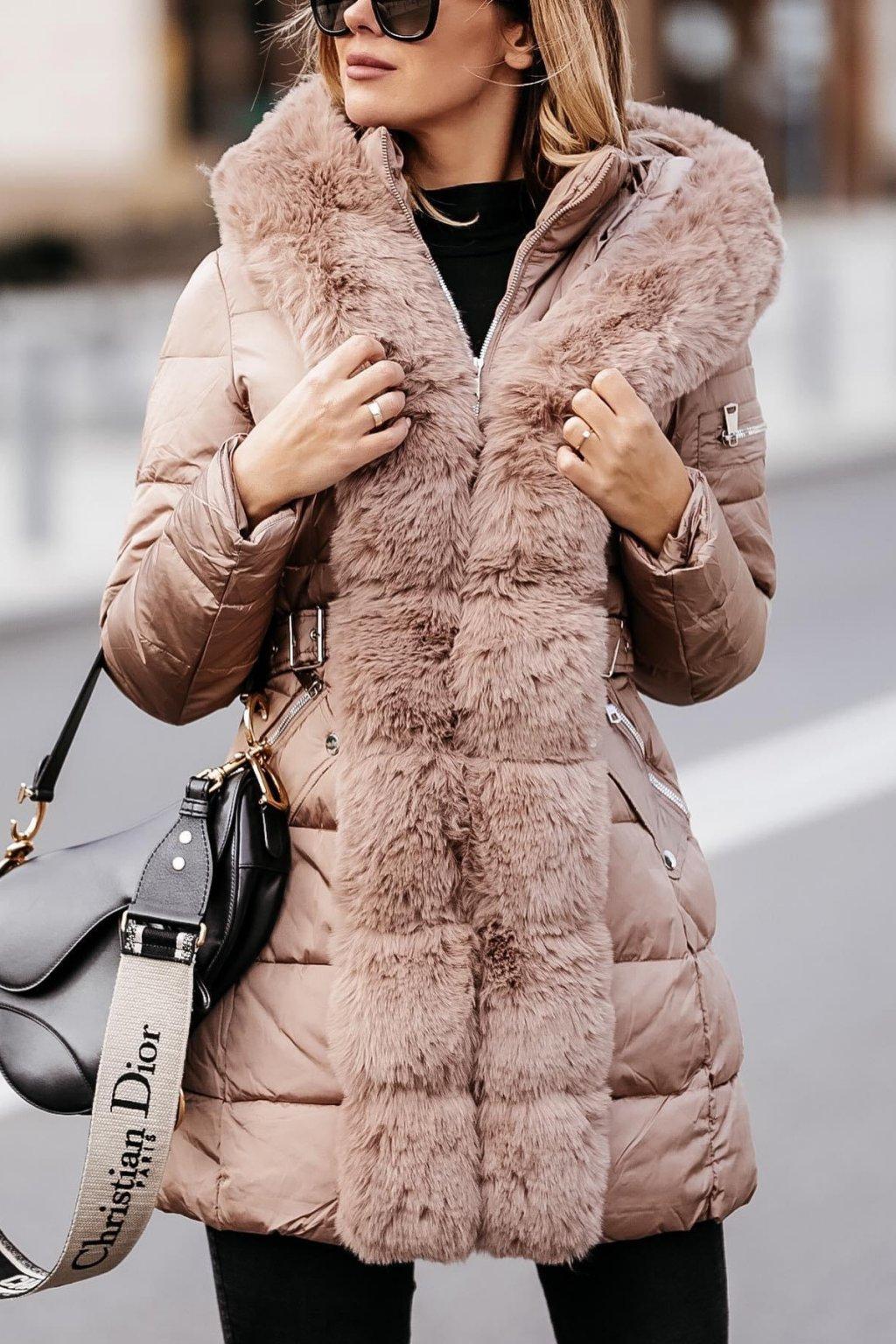 Kožešinová prodloužená bunda - Mocca