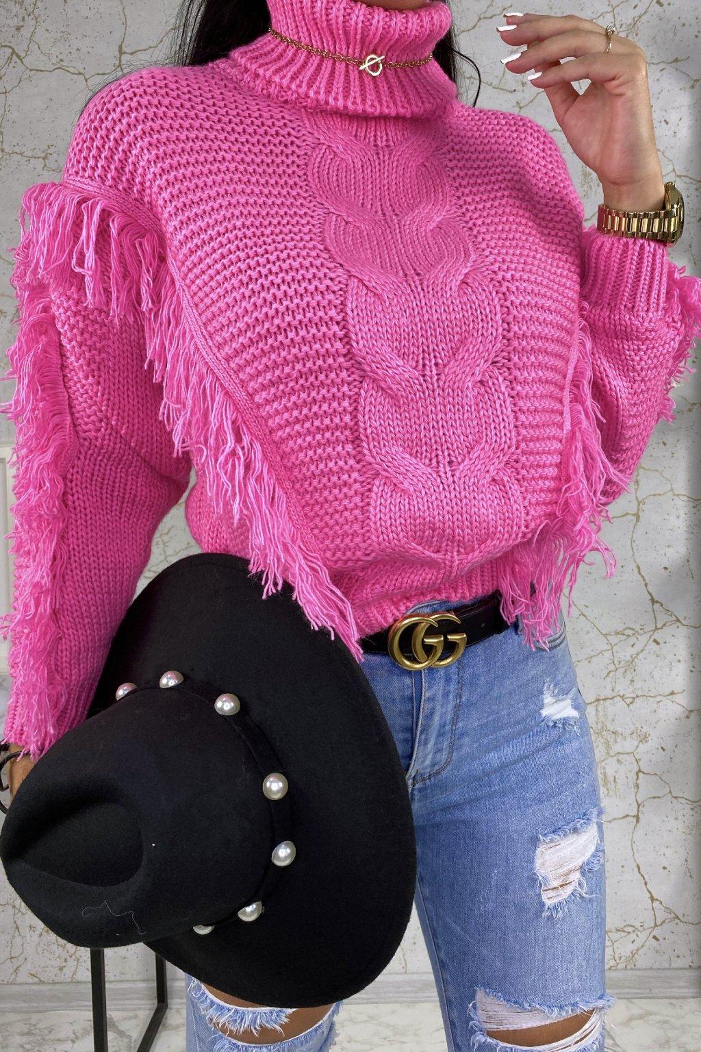 Růžový rolákový svetr Indiana