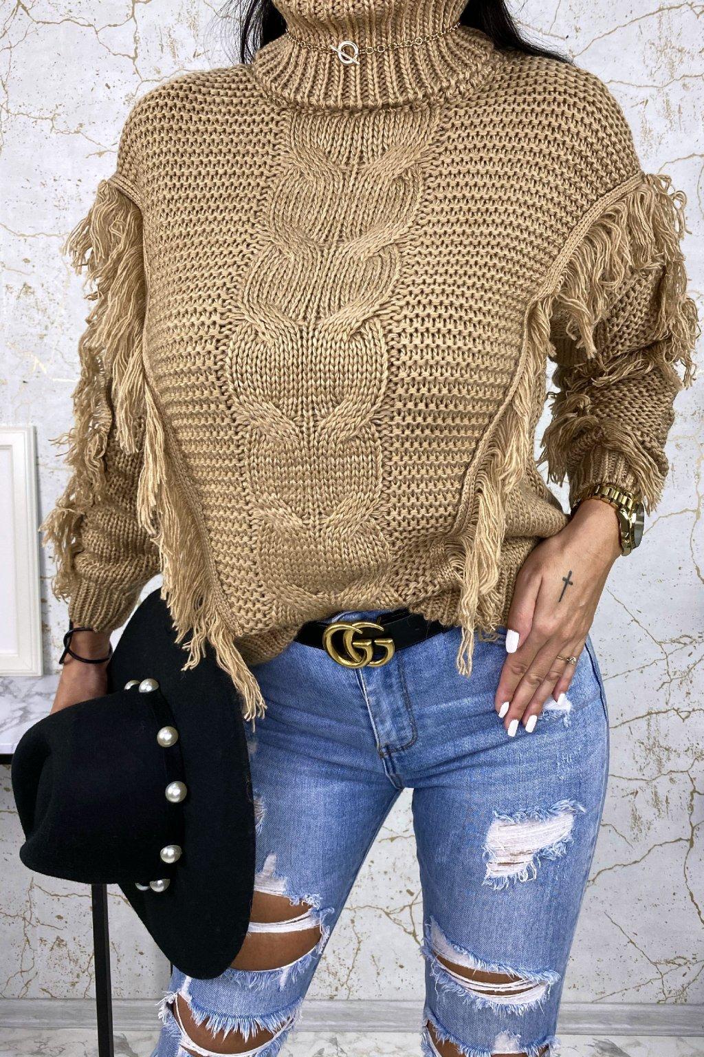 Béžový rolákový svetr Indiana