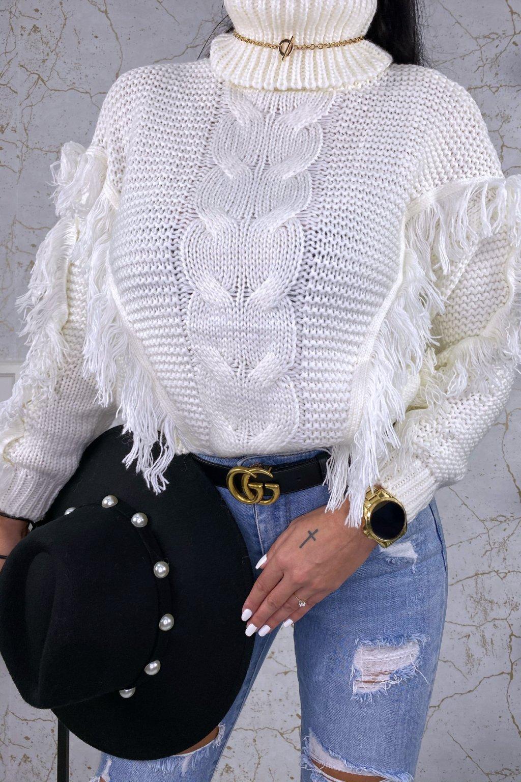 Bílý rolákový svetr Indiana