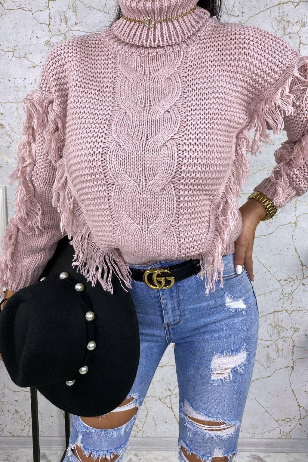 Pudrový rolákový svetr Indiana