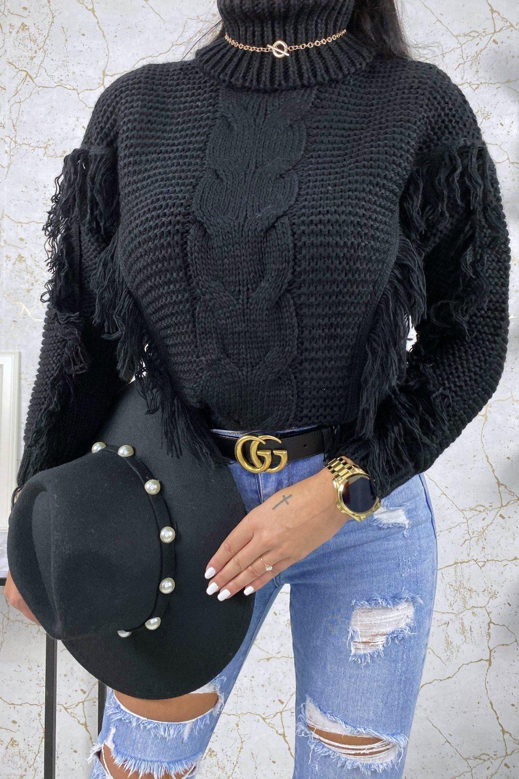 Černý rolákový svetr Indiana
