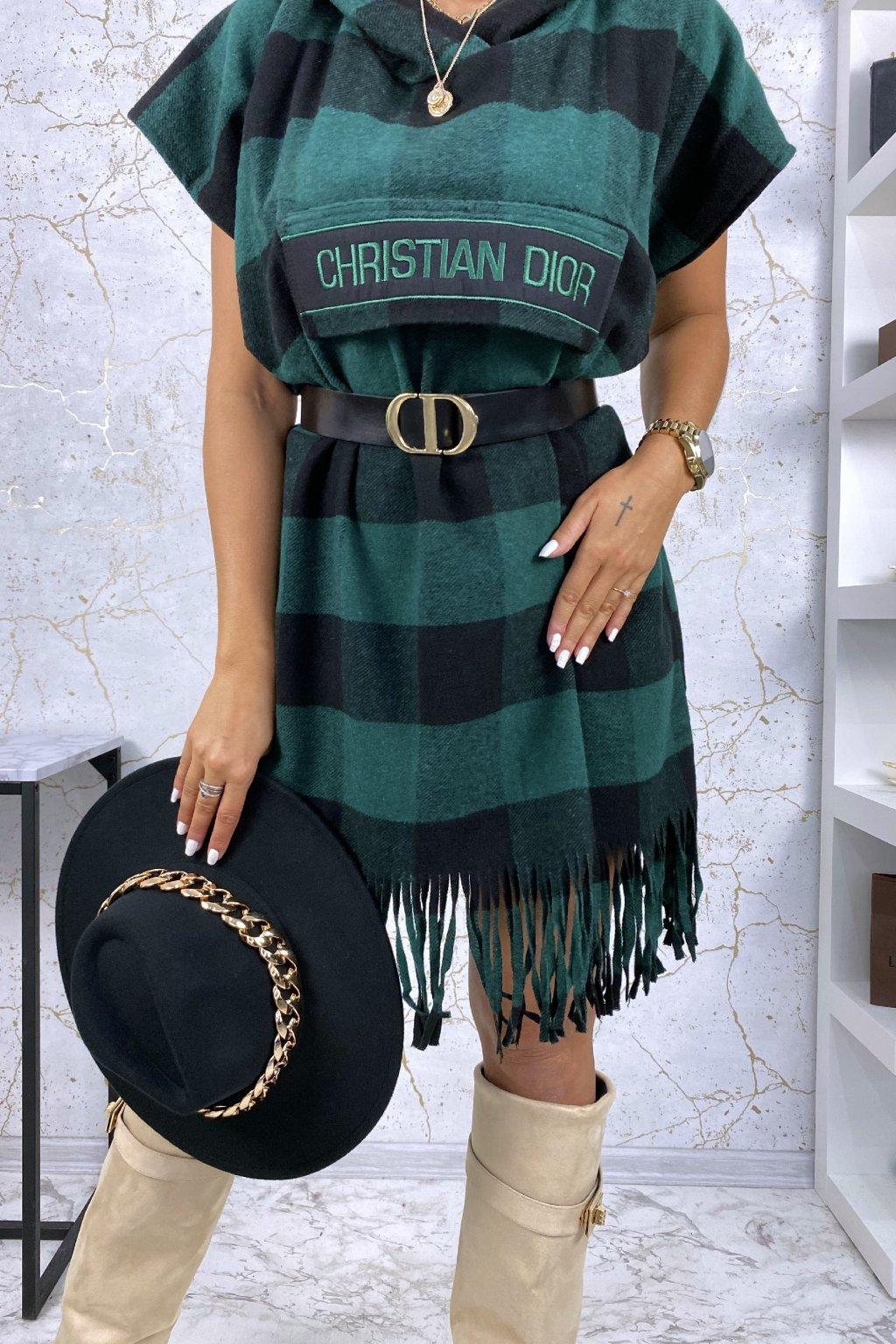 Luxusní kárované šaty s kapucí - zelené