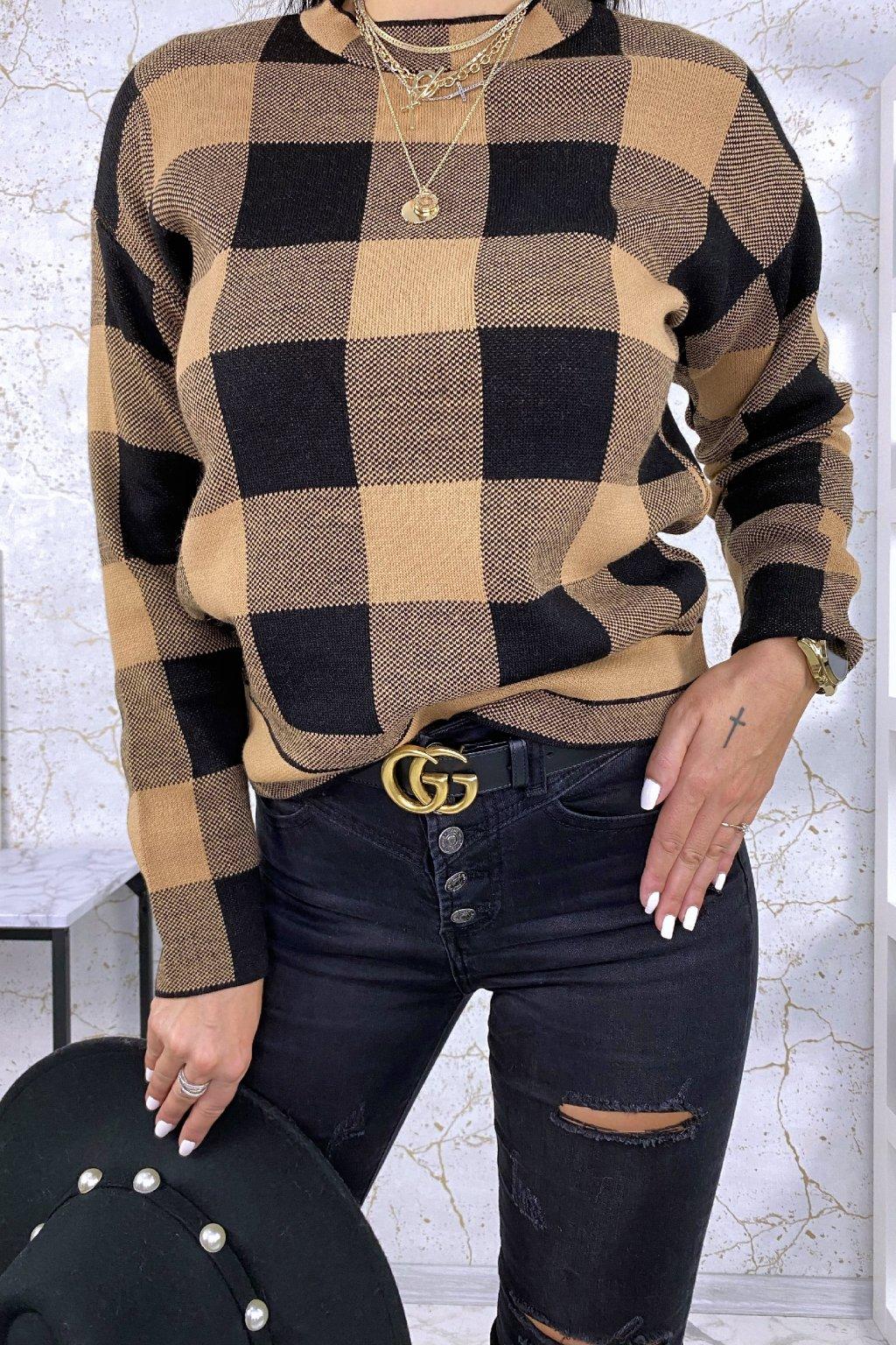 Béžový károvaný svetr Chris