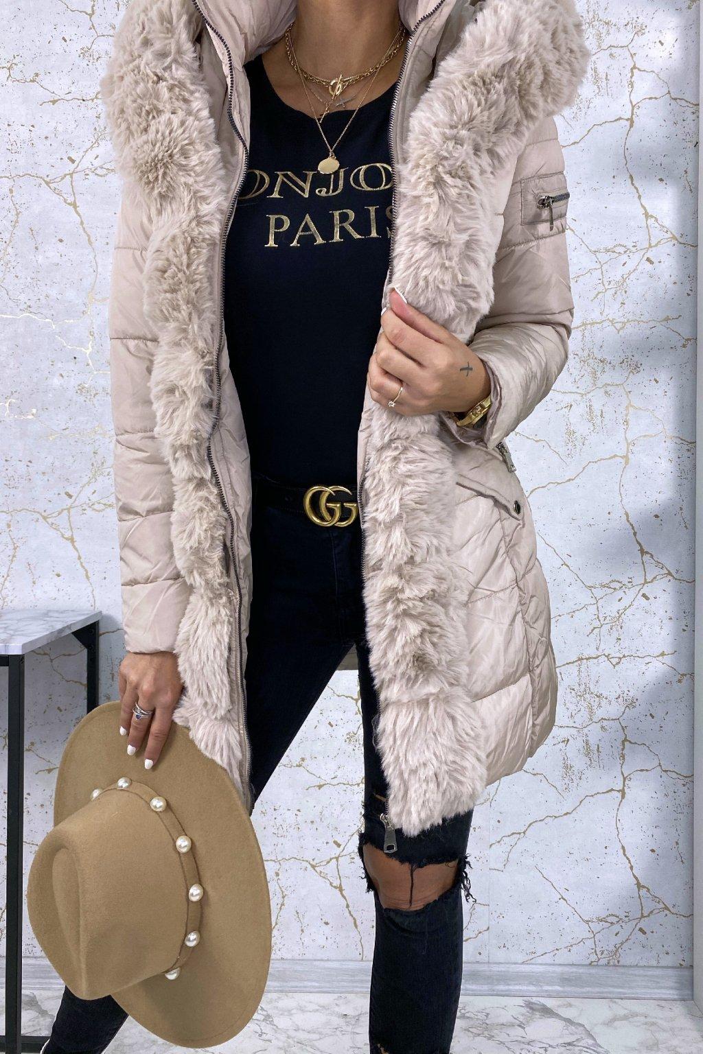 Kožešinová prodloužená bunda - Beige
