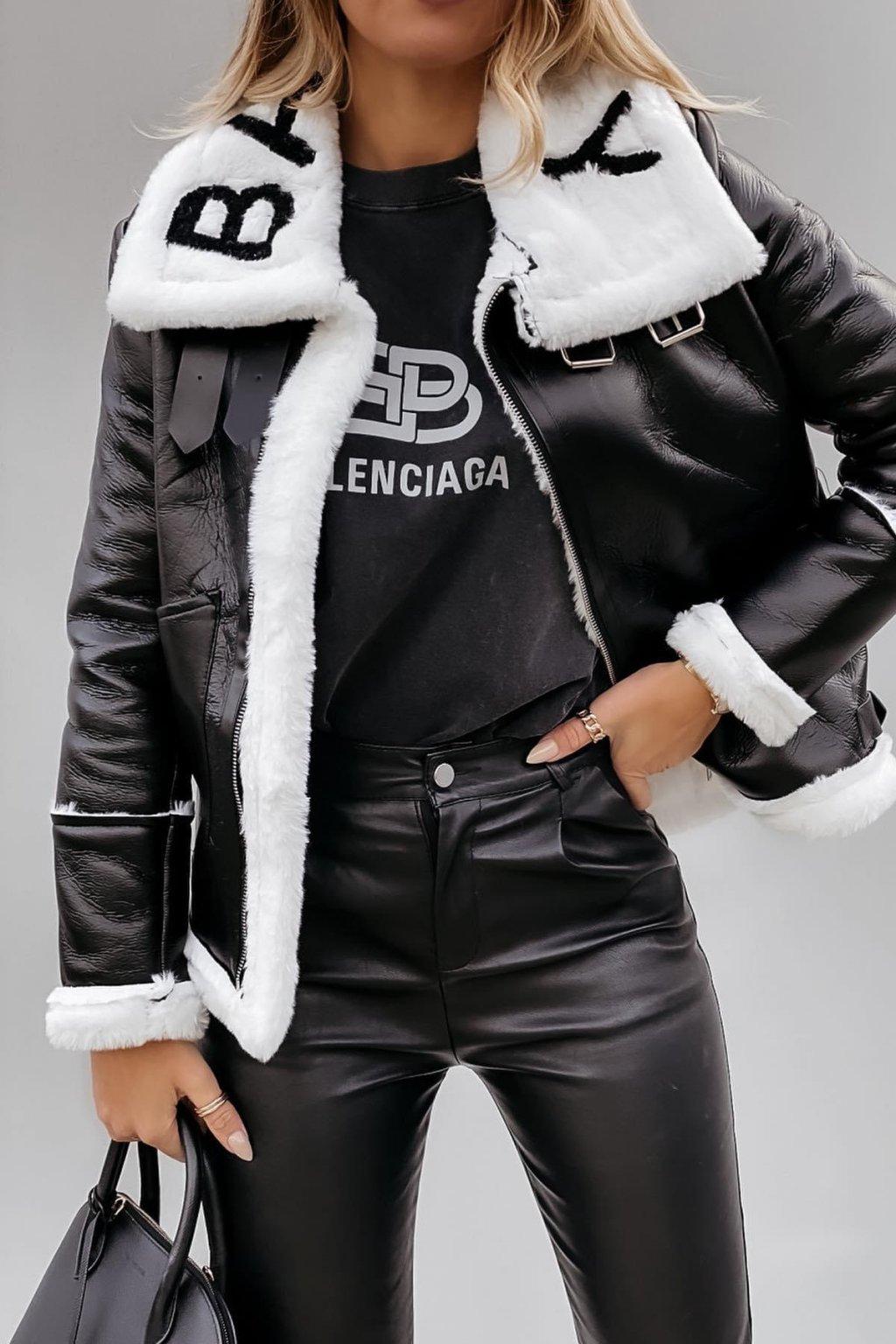 Černá bunda Baimily s bílým kožíškem