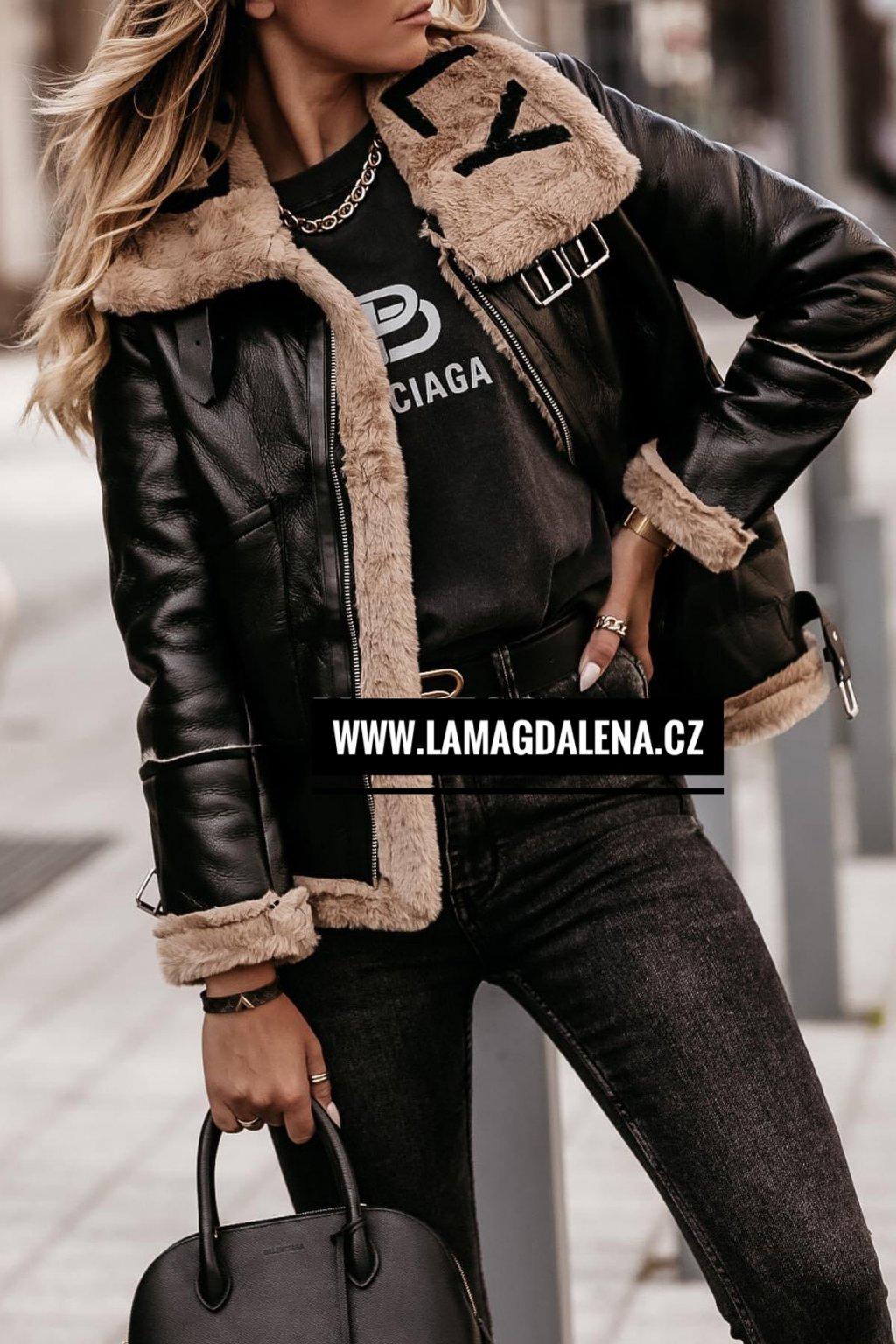 Černá bunda Baimily s camel kožíškem