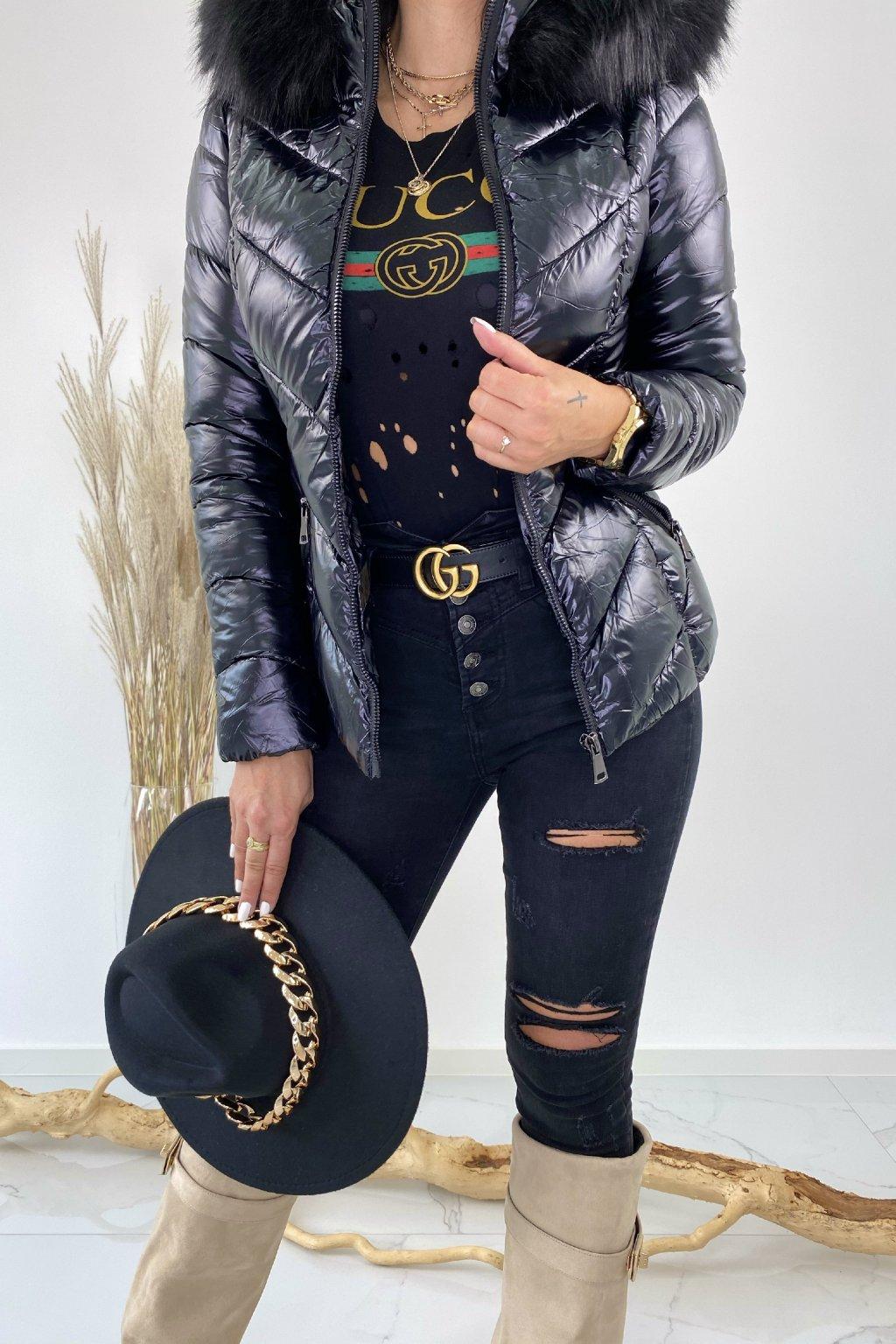 Černá lesklá bunda s kožešinou - Black Queen