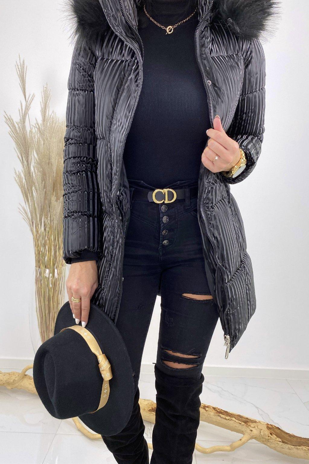 Černá lesklá bunda - Street