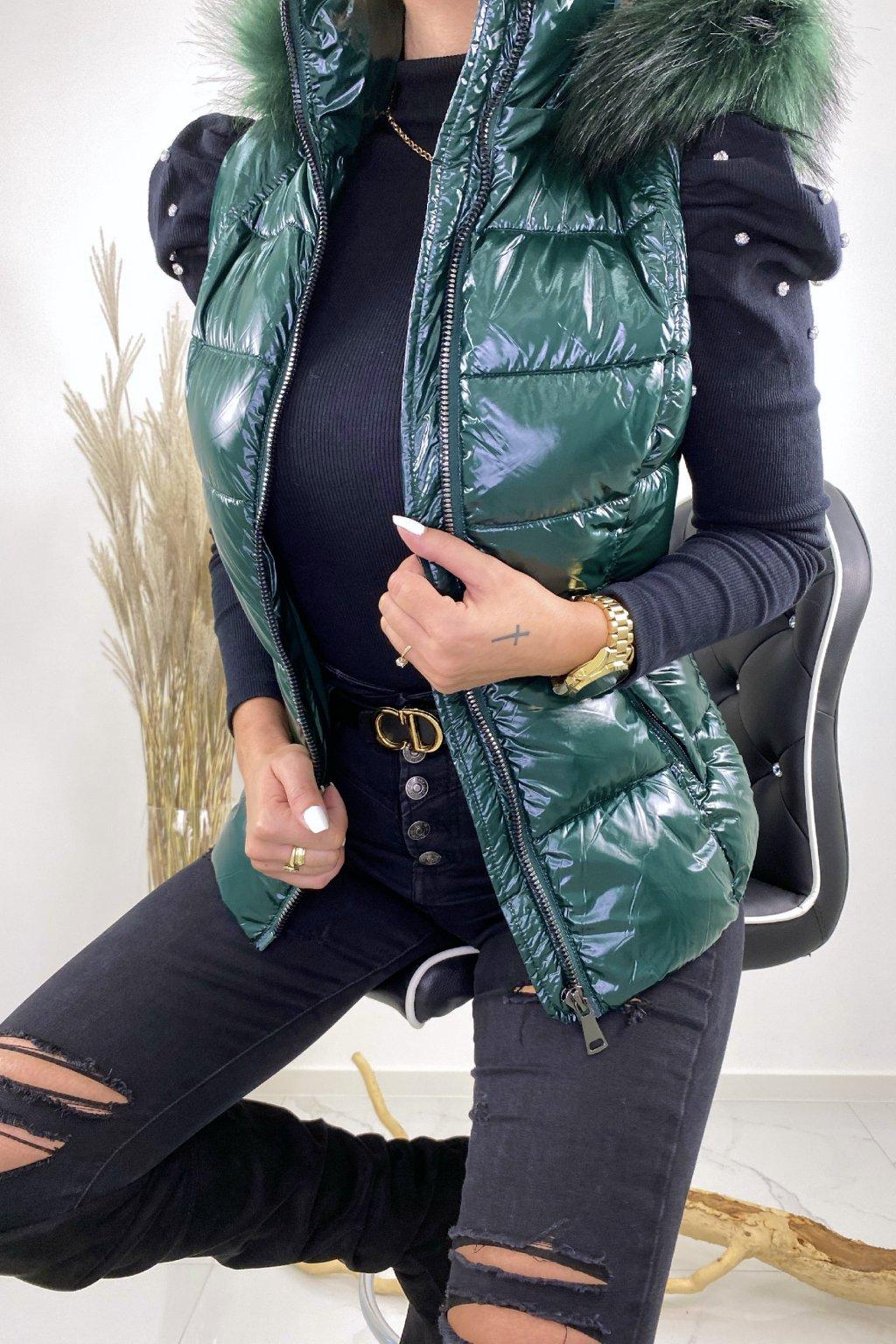 Zelená vesta s kožešinou - Bianka