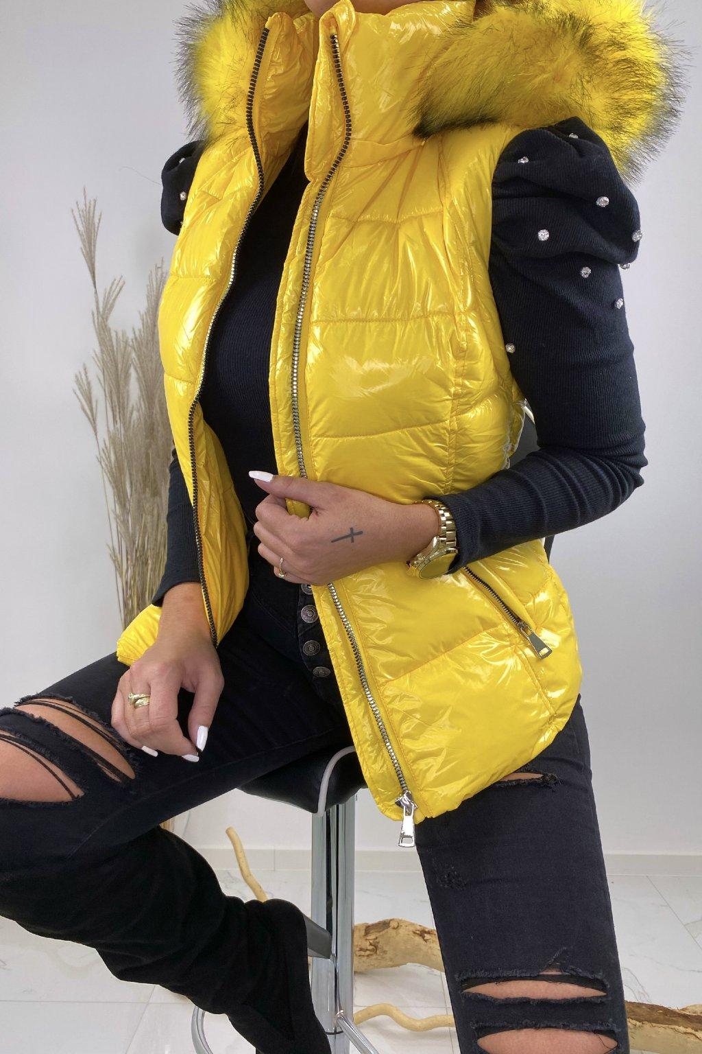 Žlutá vesta s kožešinou - Bianka