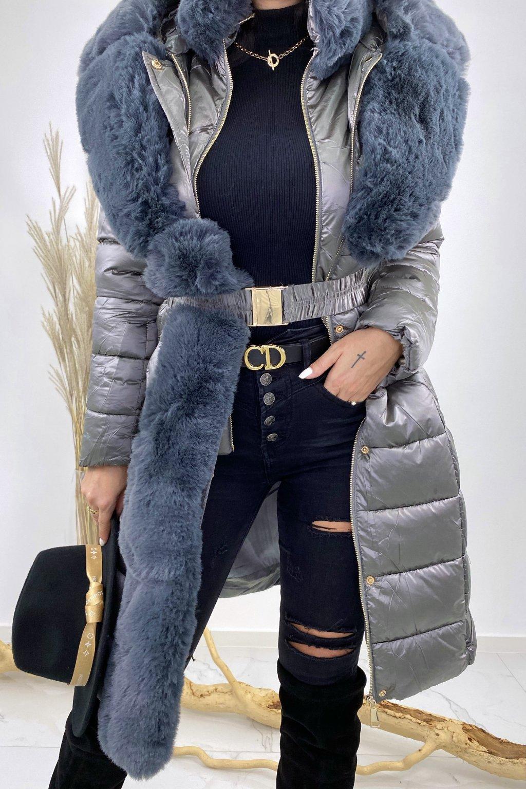 Šedá bunda s kožešinou - Amanda
