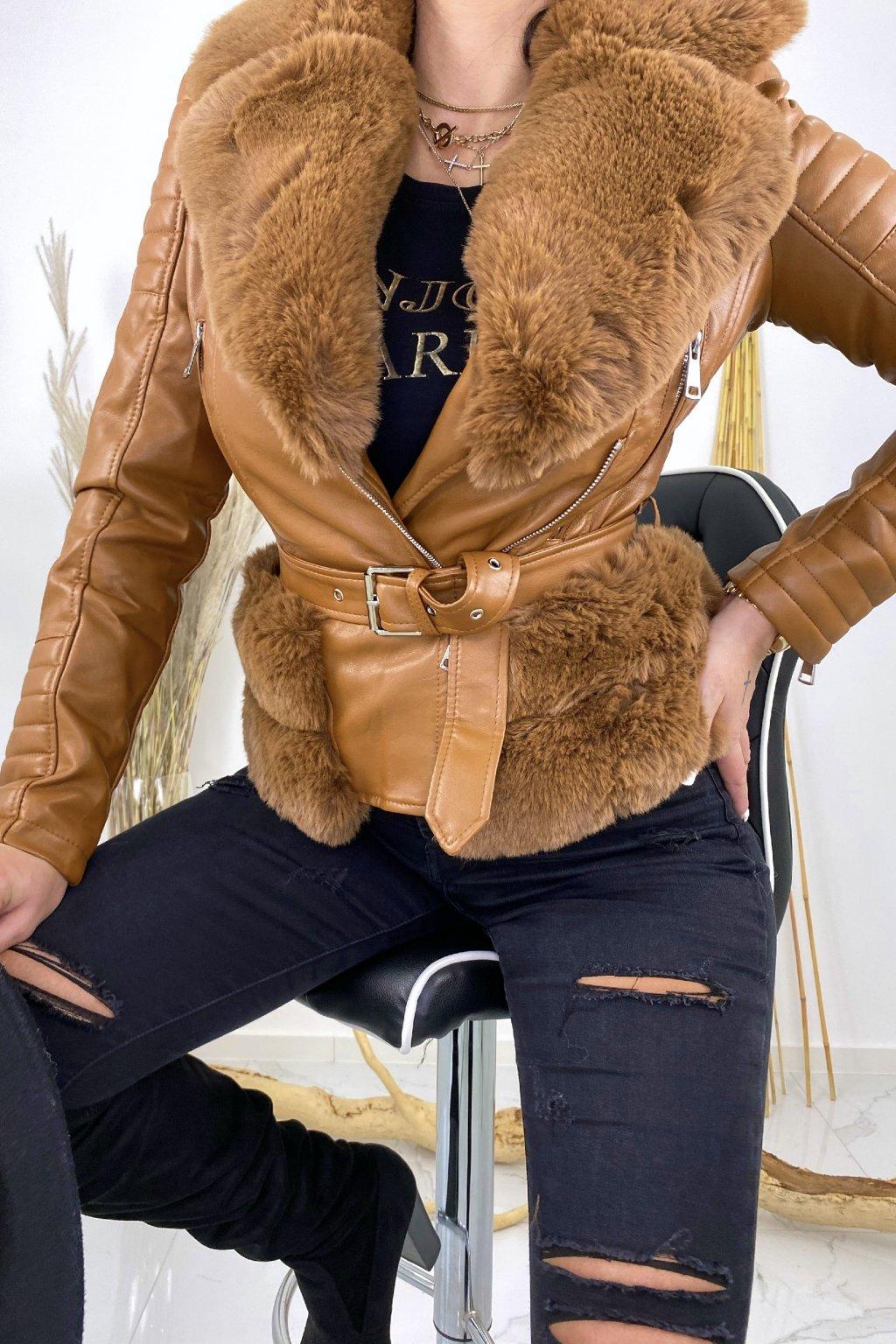 Camel zateplený křivák s kožešinou - Selena