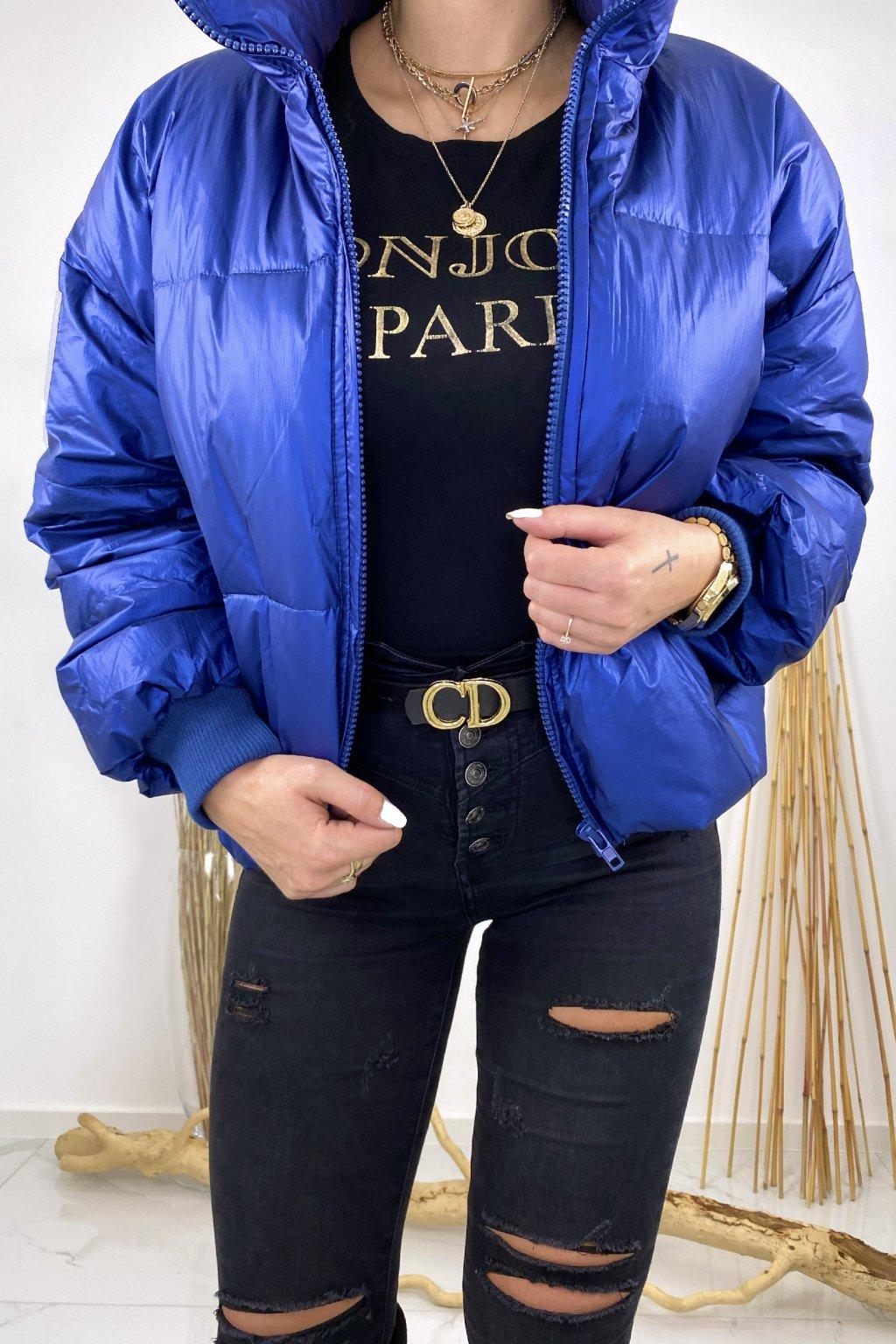 Modrá oversize bunda