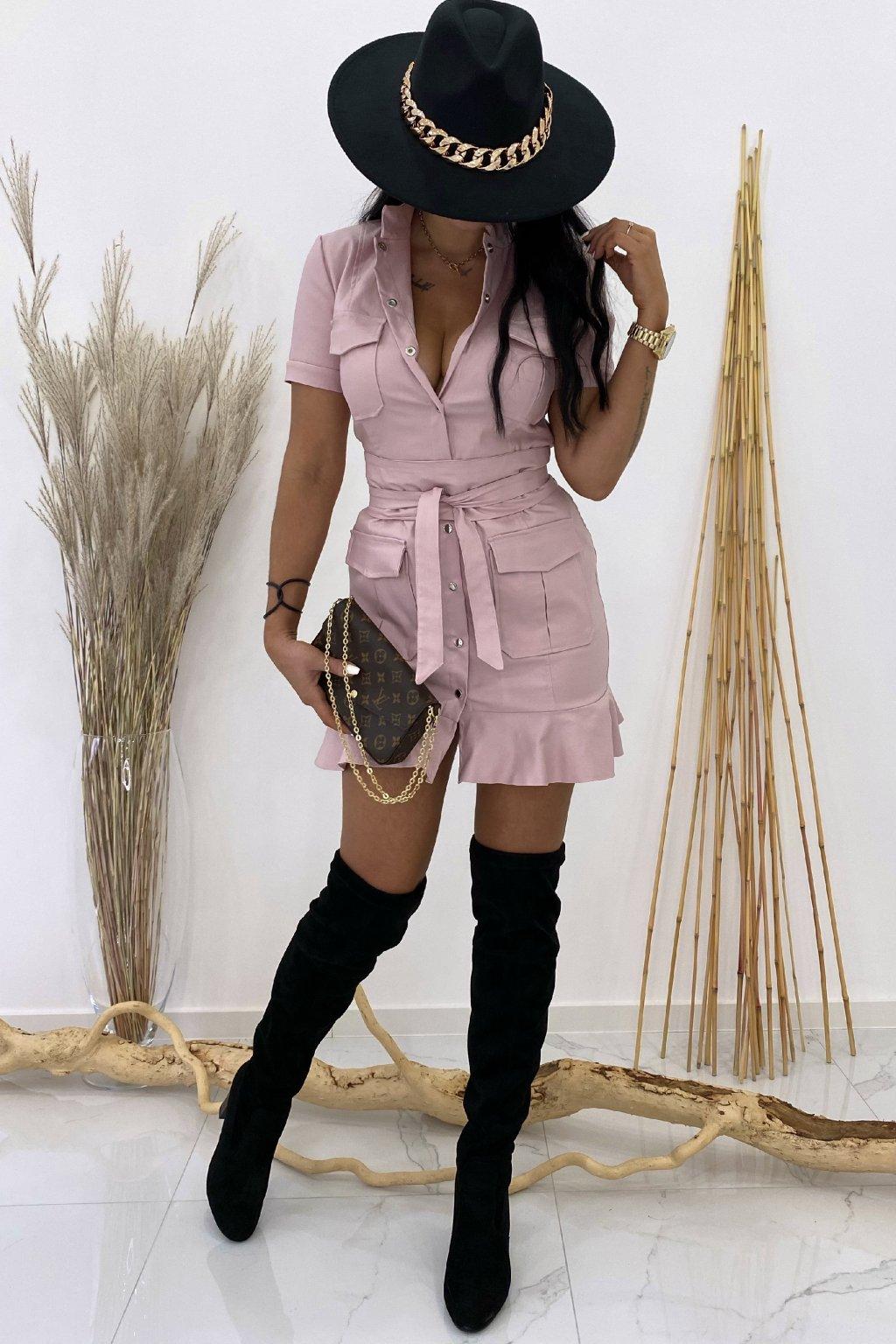 Kožené pudrové šaty s páskem - Galliano