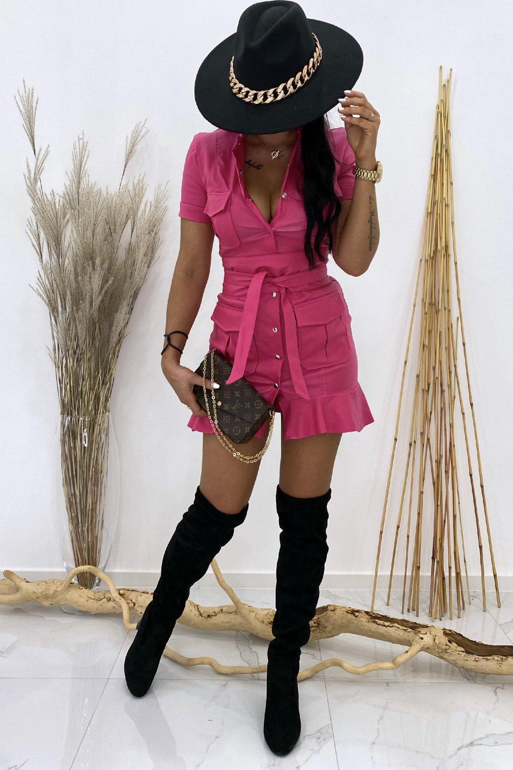 Kožené růžové šaty s páskem - Galliano