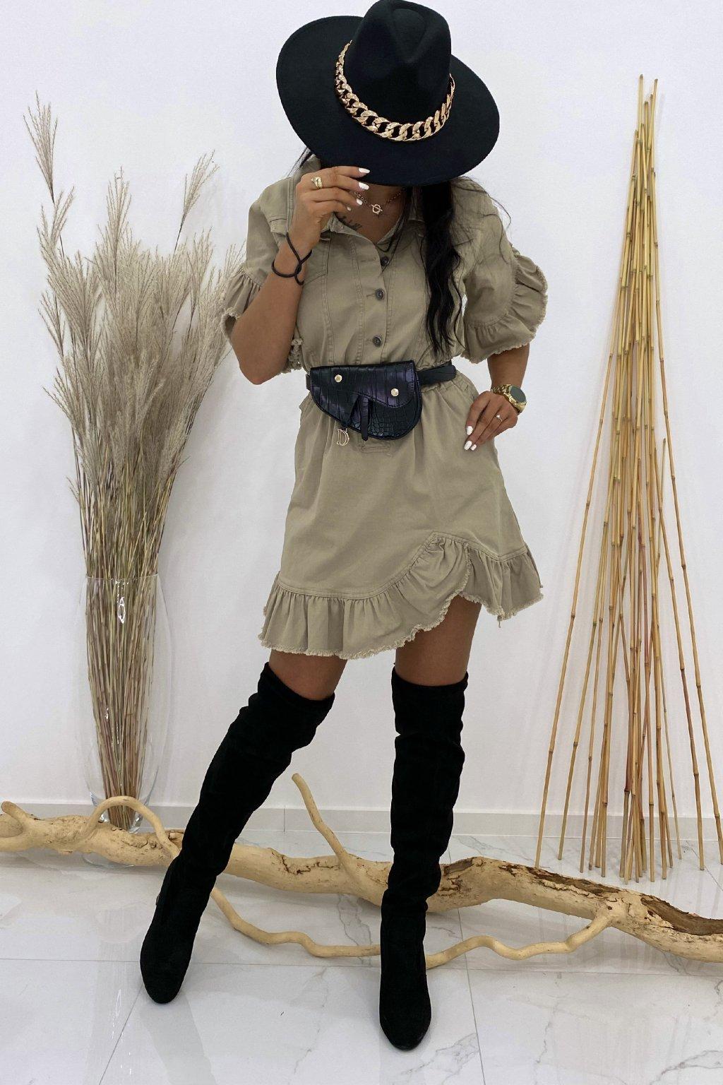 Džínové béžové šaty - Safari